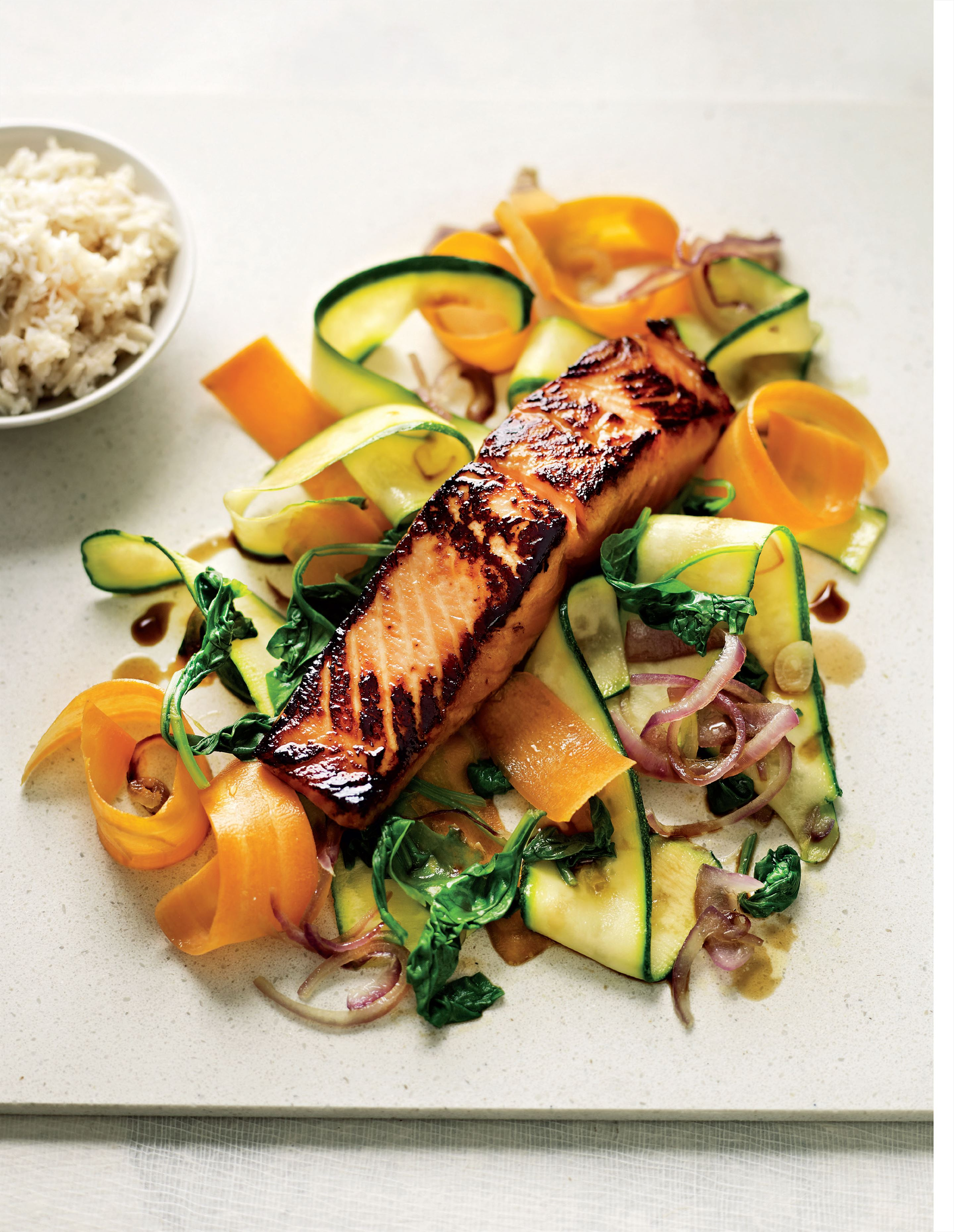 Sesame soy salmon and vegetables with coconut rice