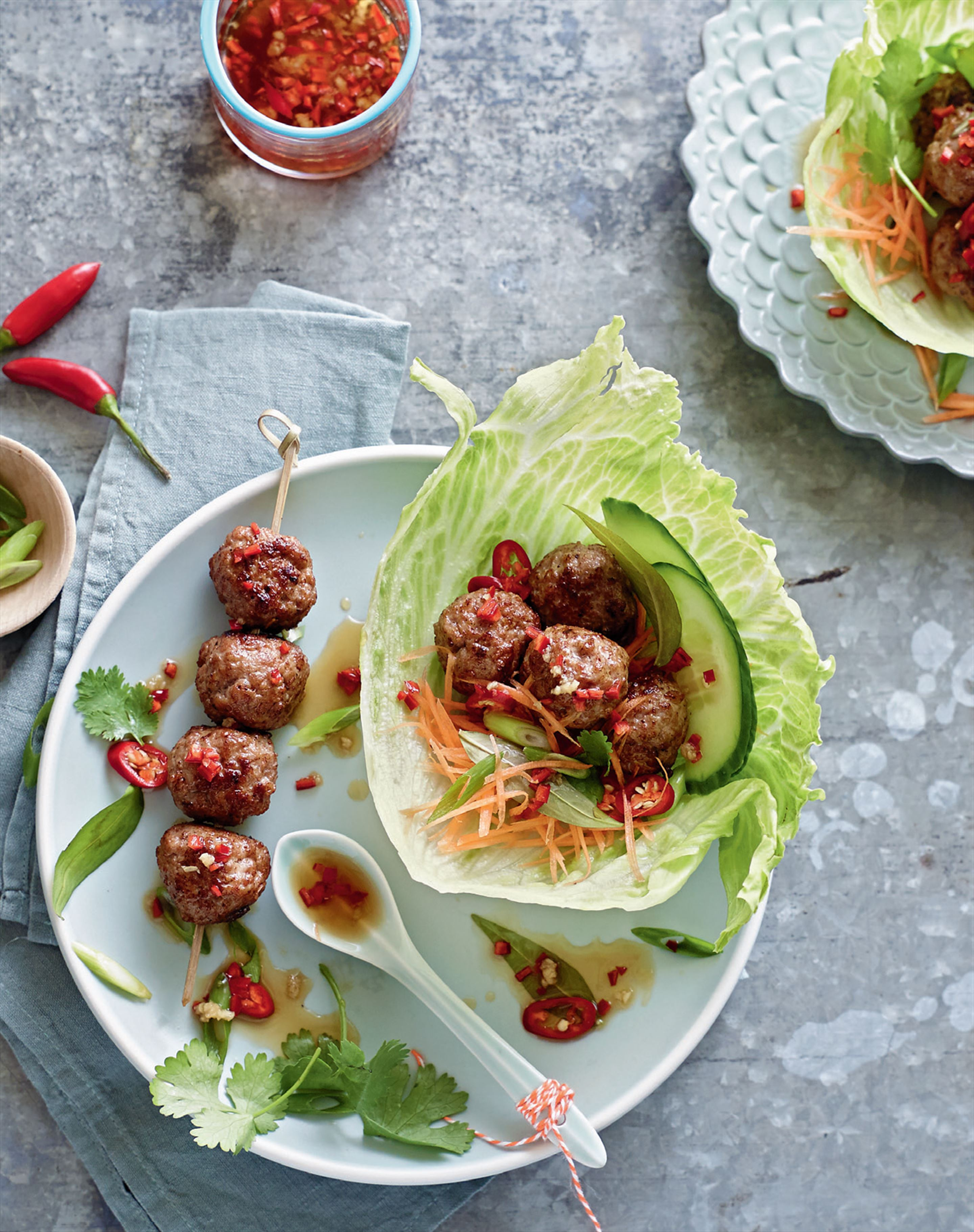 Vietnamese grilled pork meatballs
