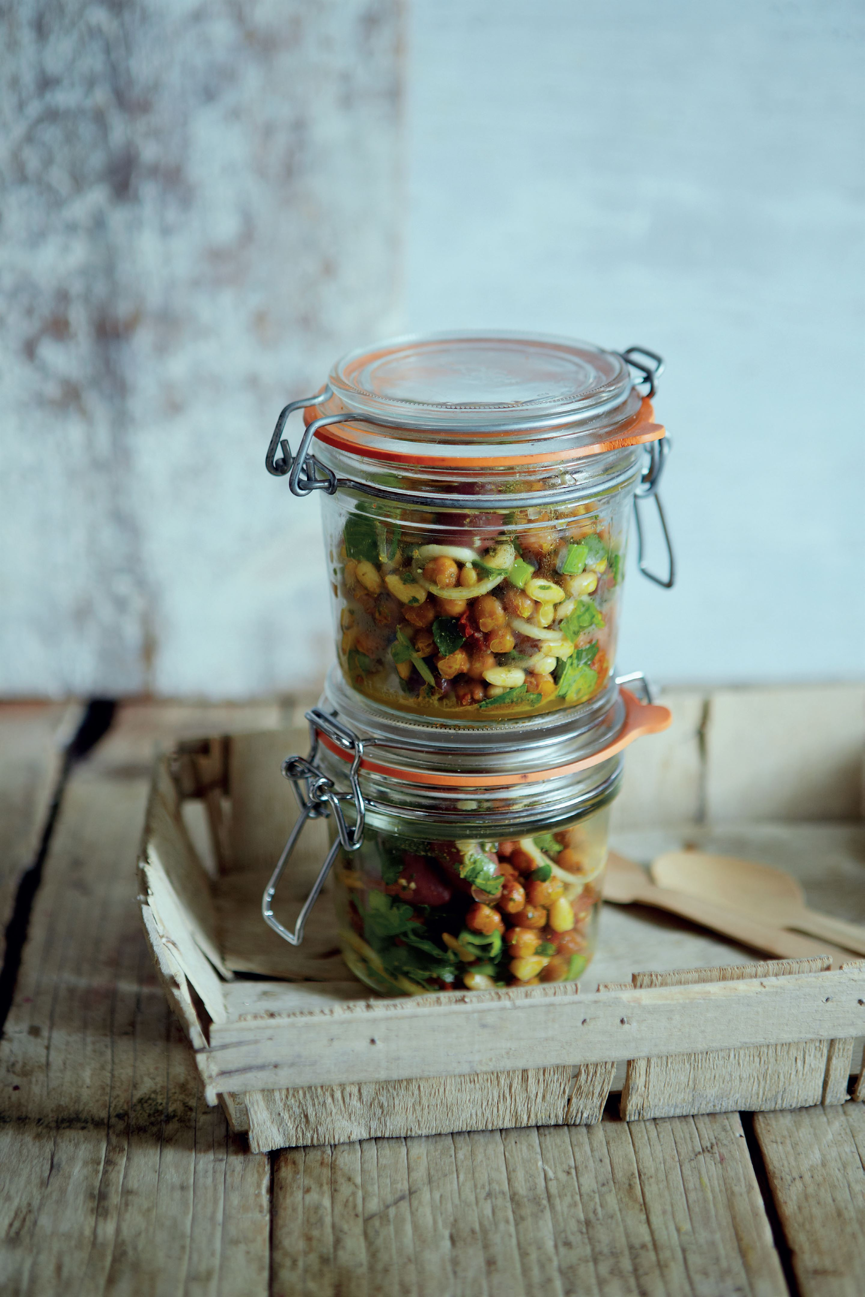 Roasted chickpea and sun-dried tomato salad with herb dressing