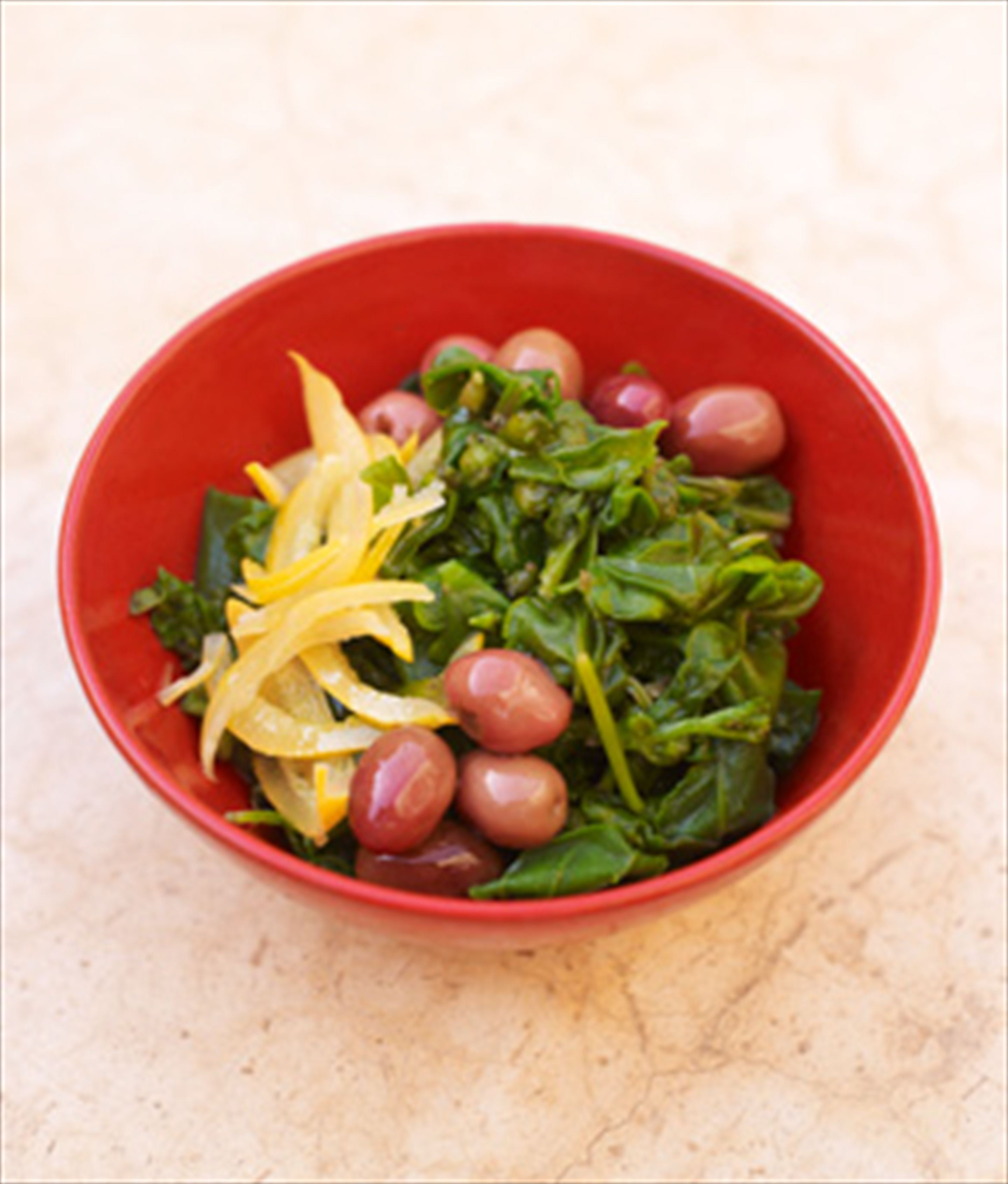 Baby spinach, preserved lemon & olive salad