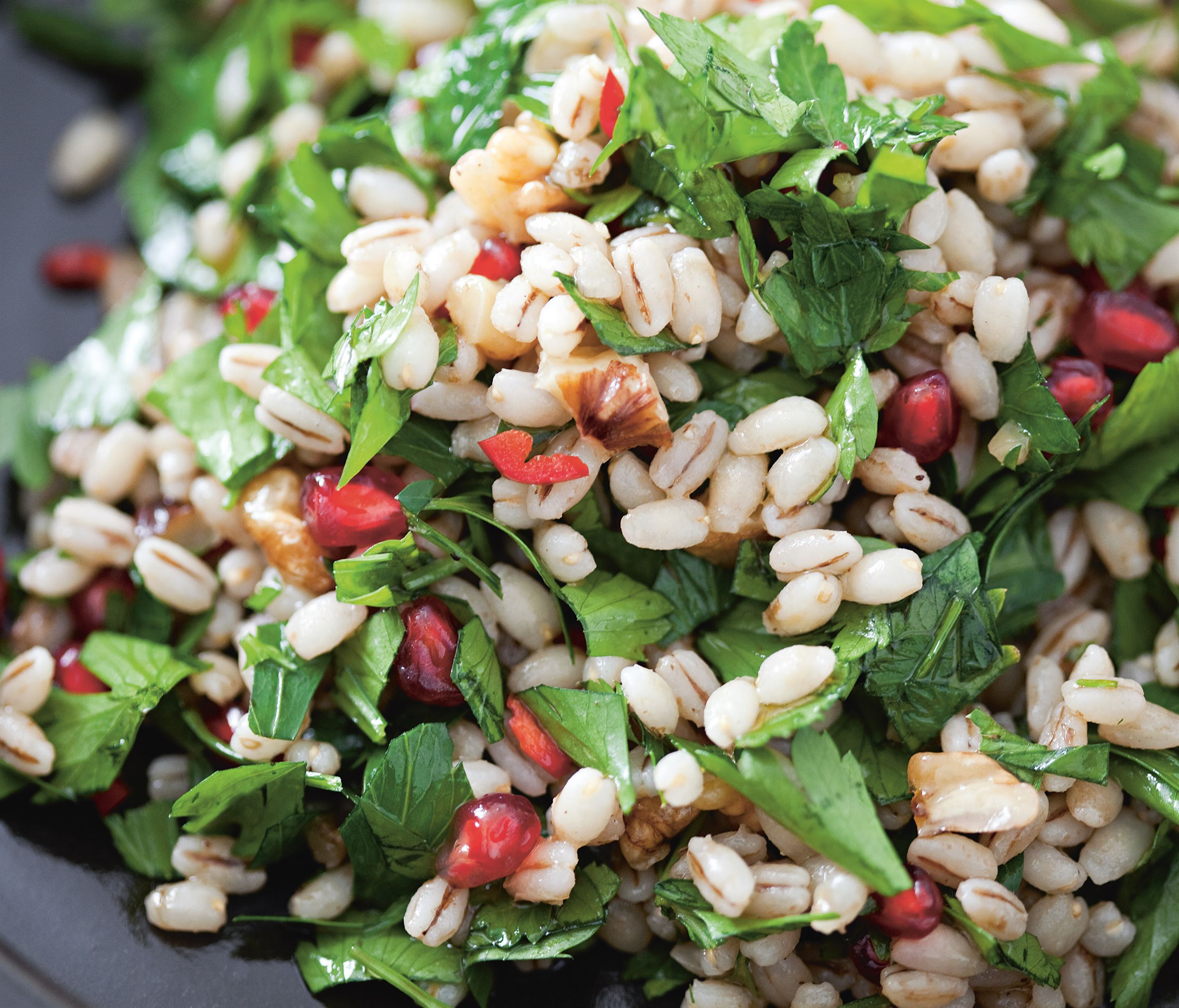 Spicy barley salad