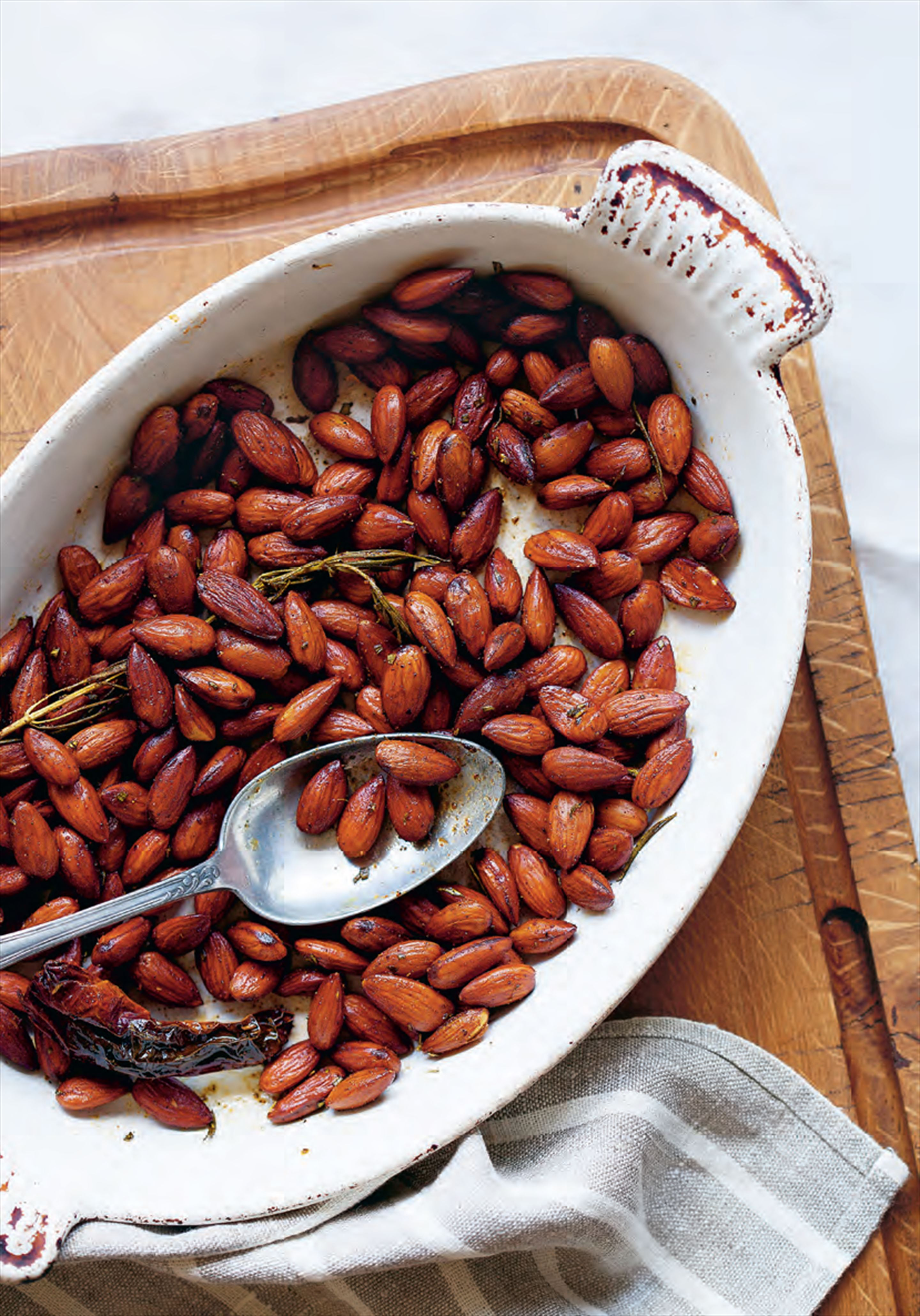 Brined and roasted spiced almonds