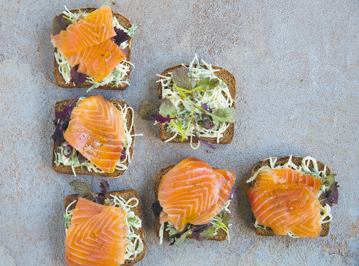 Lovage-cured salmon on rye with remoulade