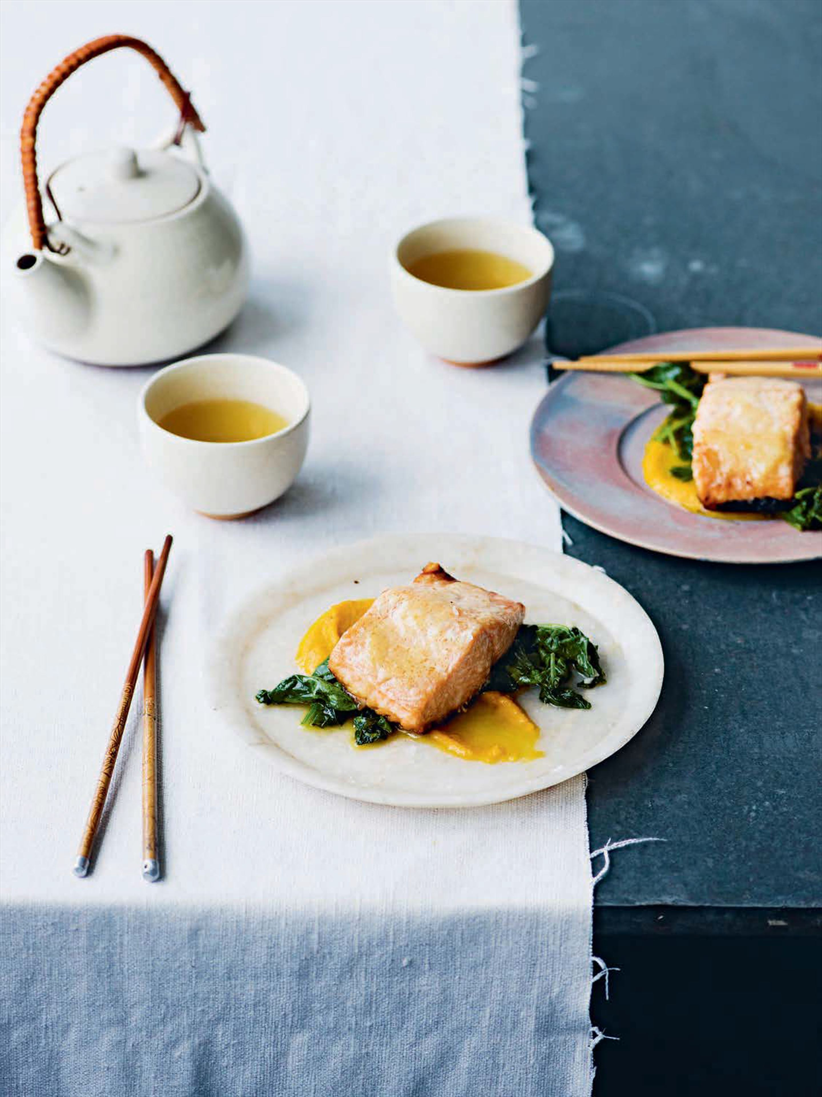 Miso salmon with garlic spinach and carrot ginger puree