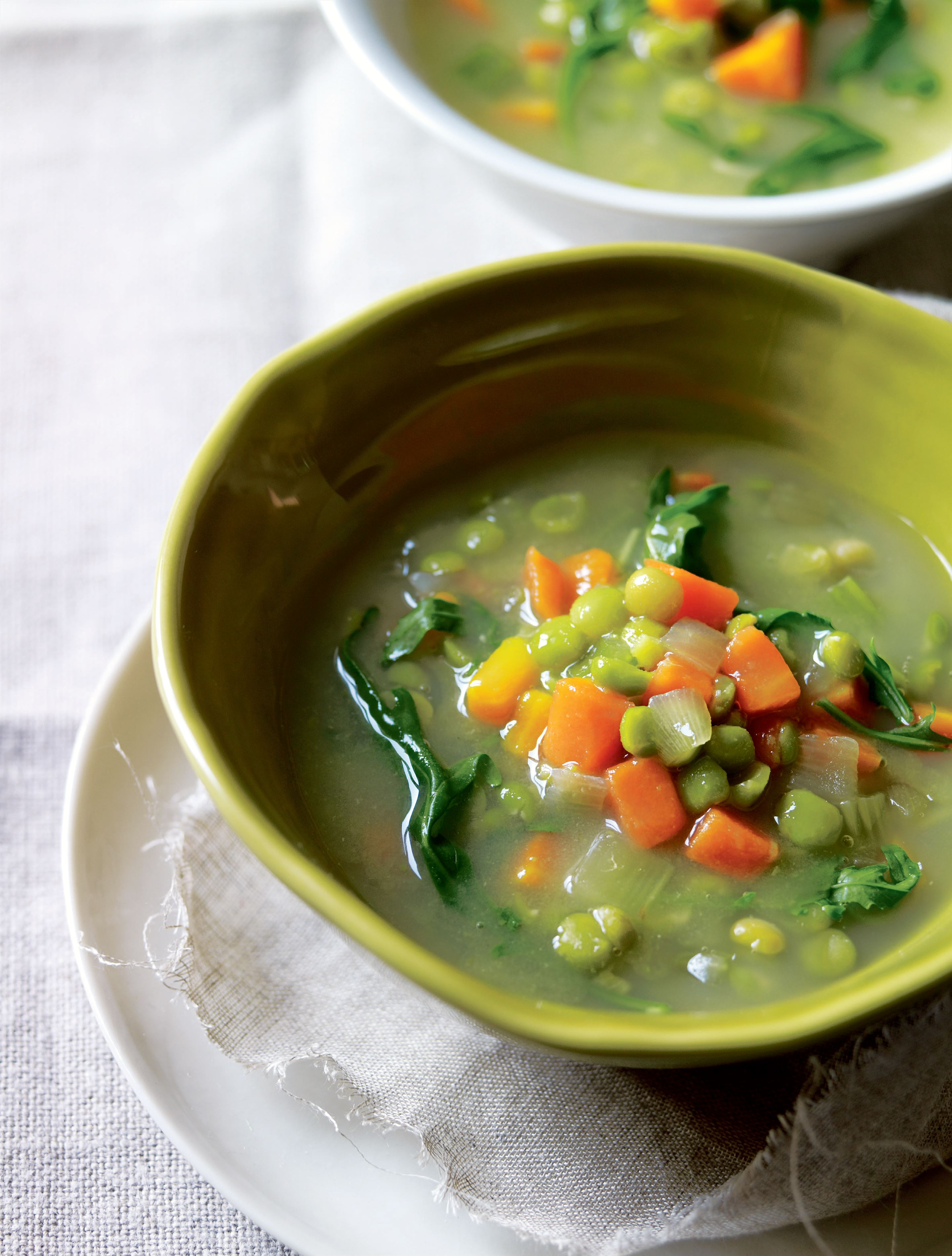 Creamy split pea soup with bitter greens