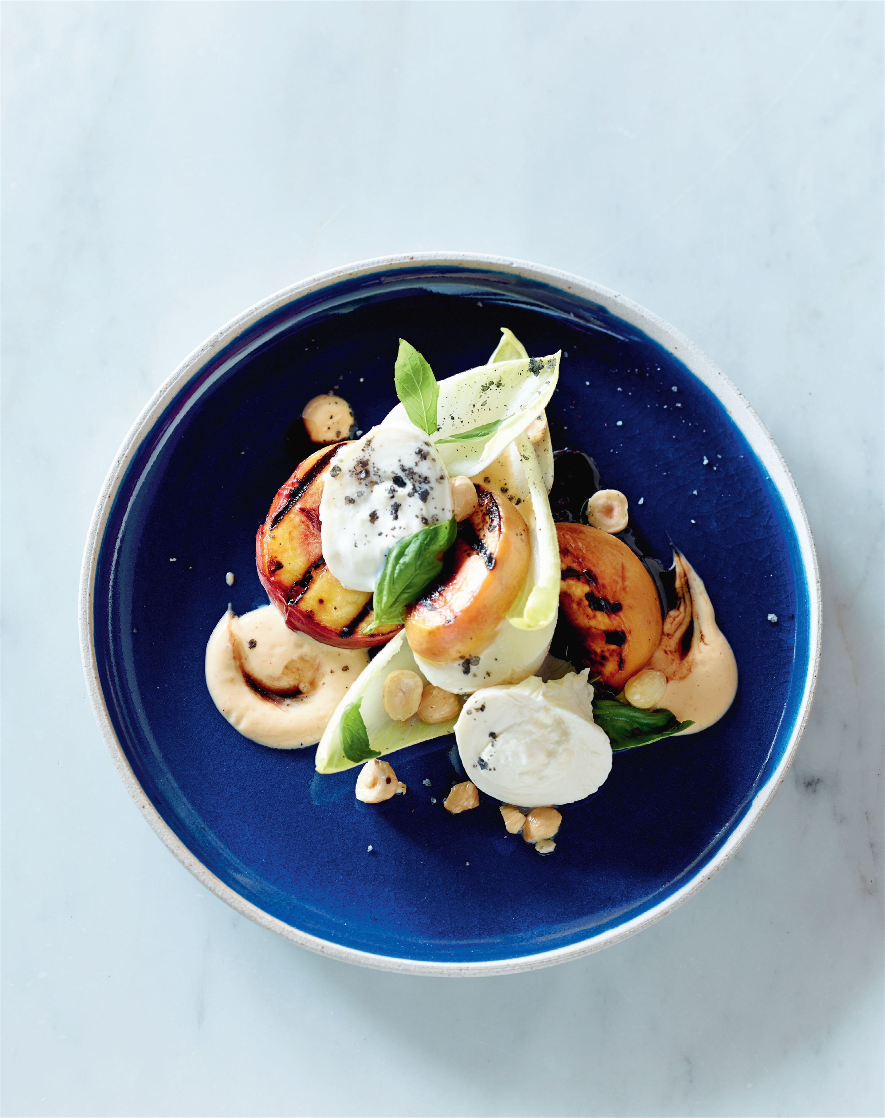 Grilled peach, witlof, burrata, balsamic, hazelnuts