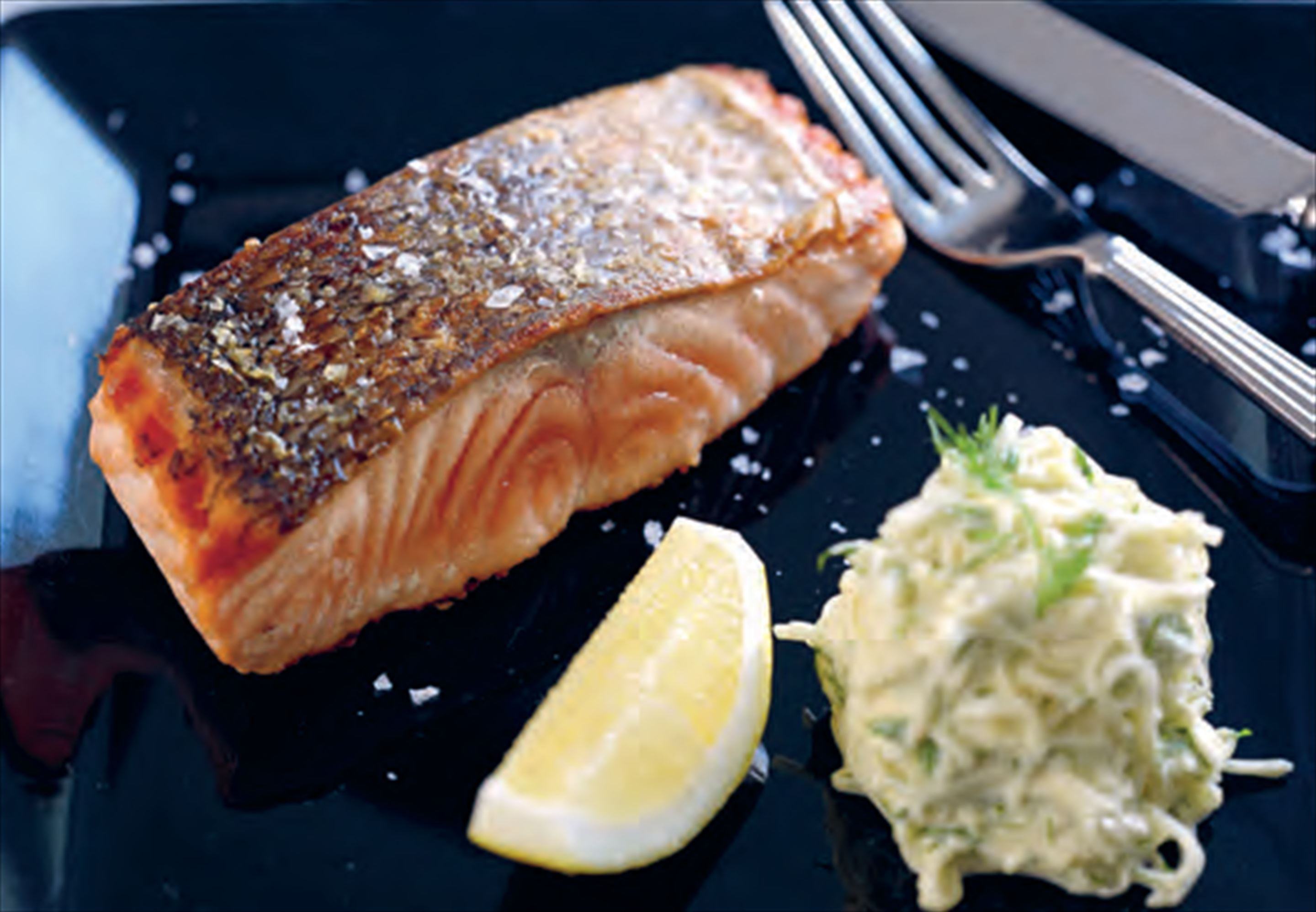 Pan-seared salmon with celeriac remoulade