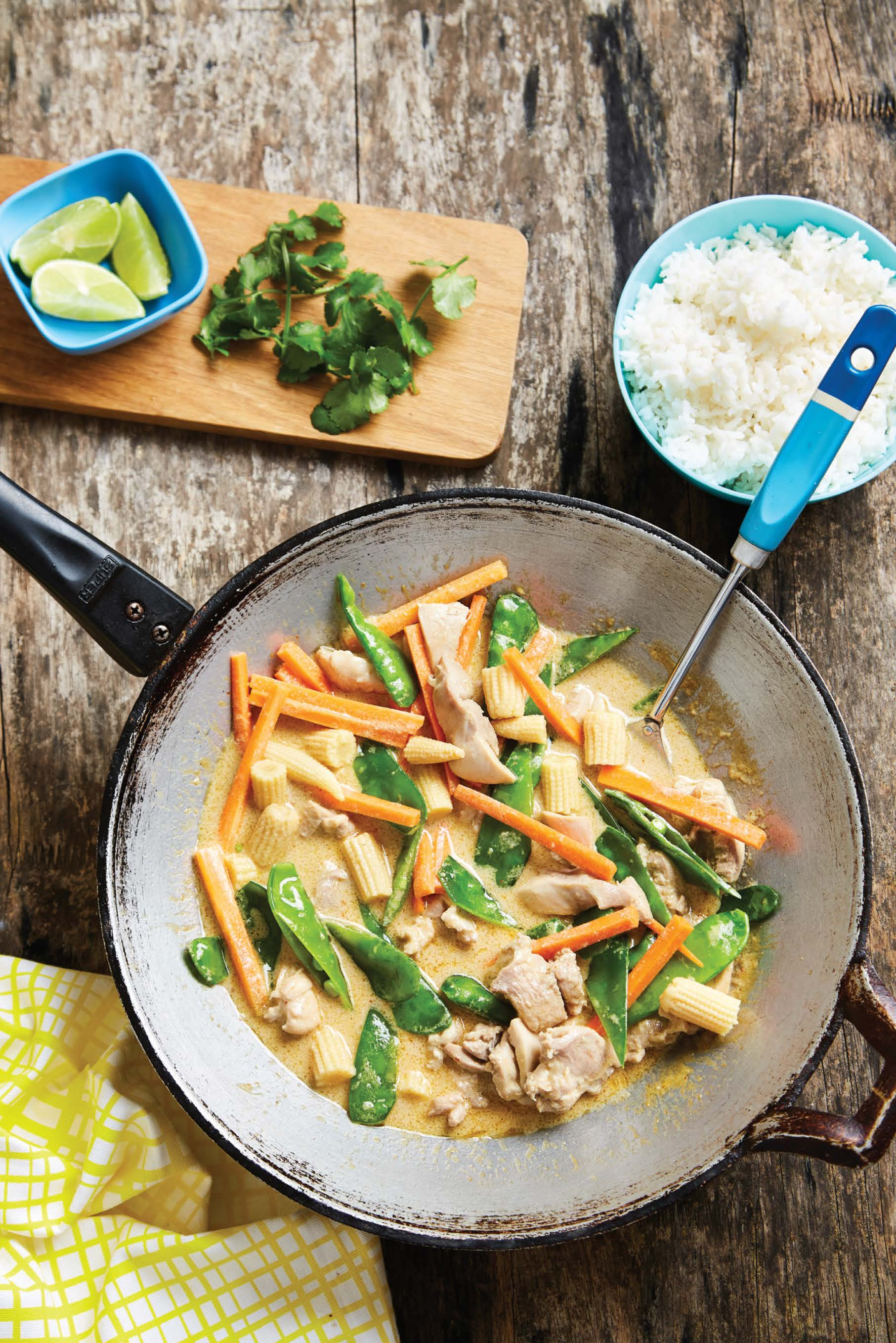 Family-friendly massaman chicken and vegetable curry with rice