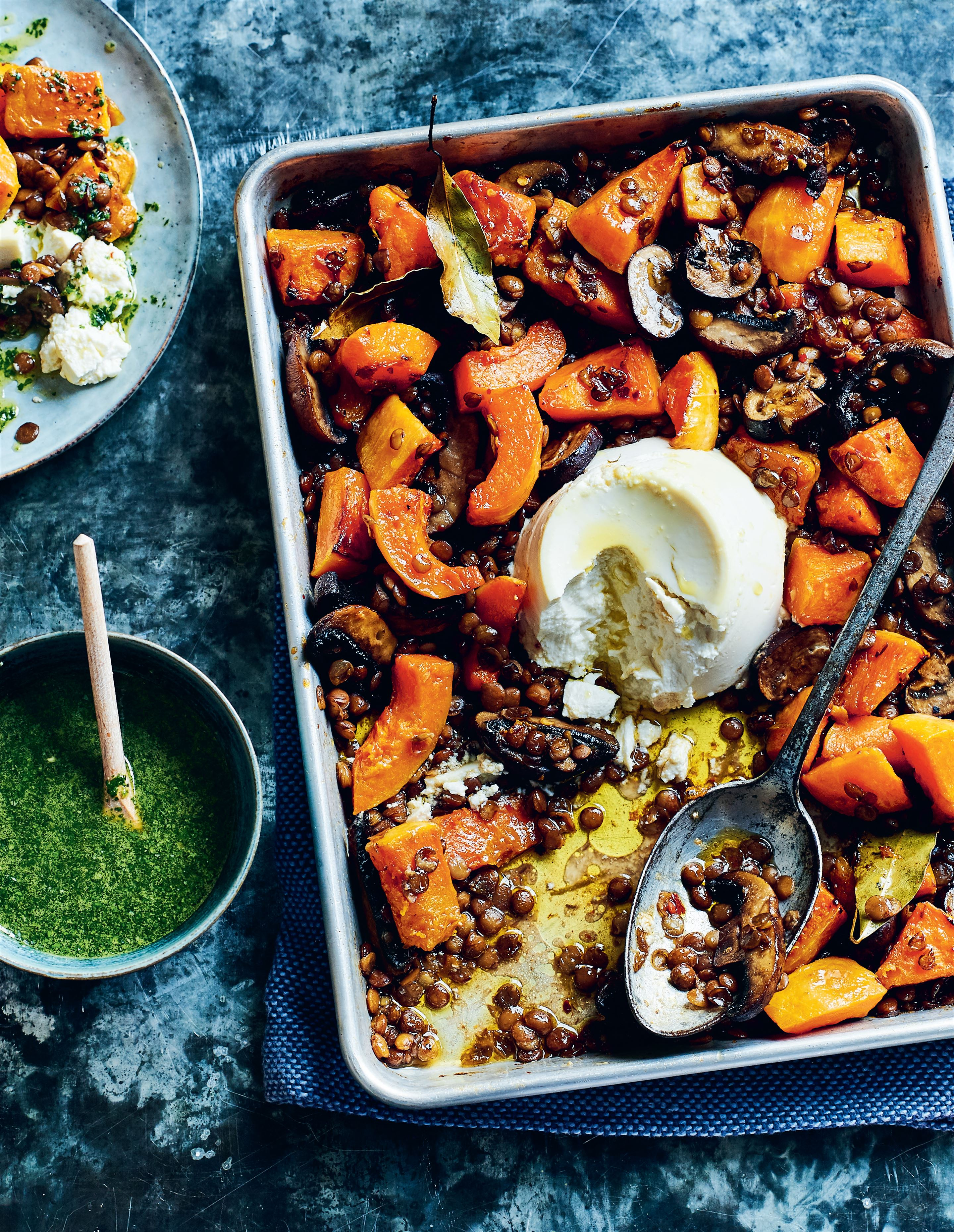 Maple and lime-roasted squash with lentils, ricotta and basil oil
