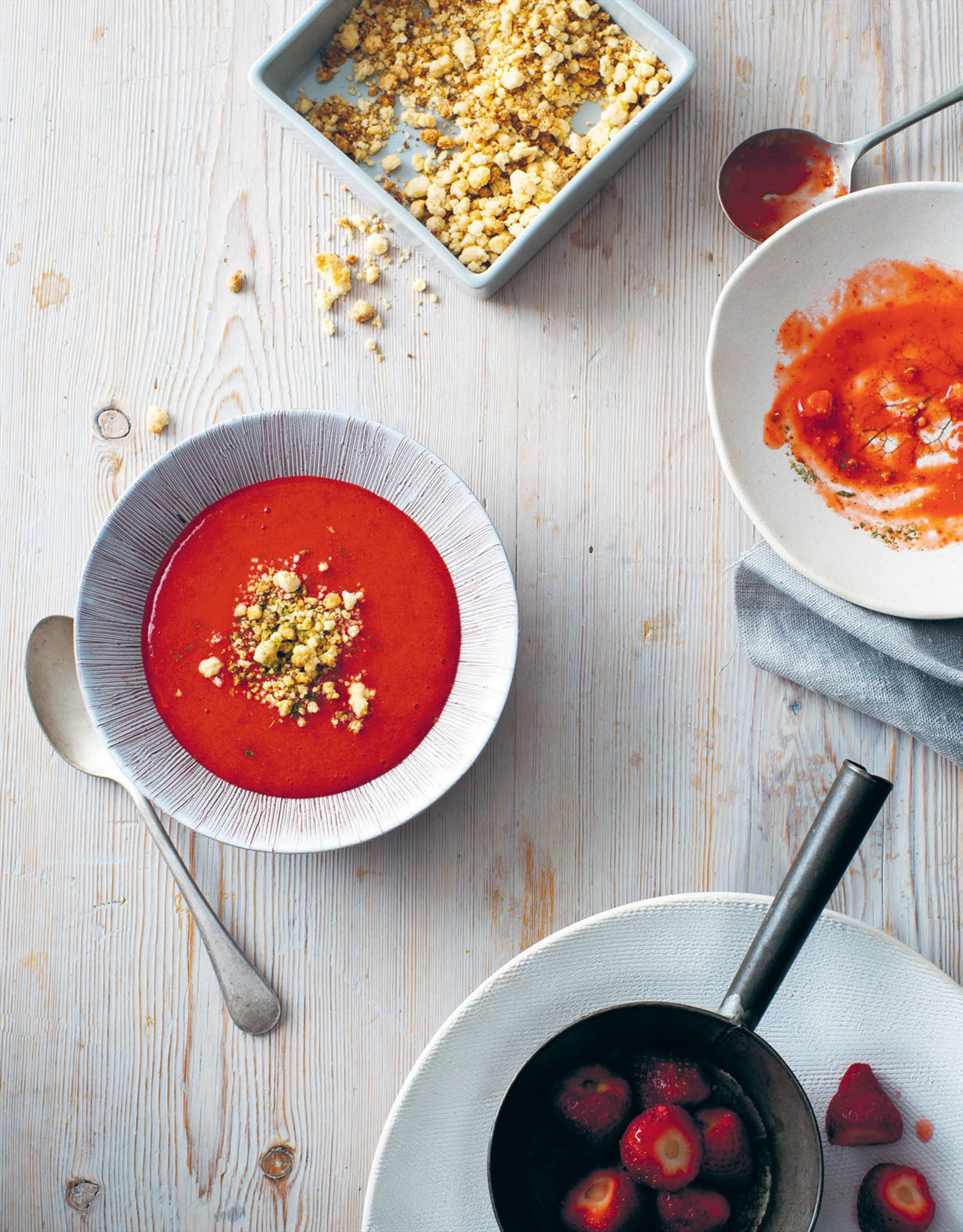 Strawberry soup, rosemary & feta