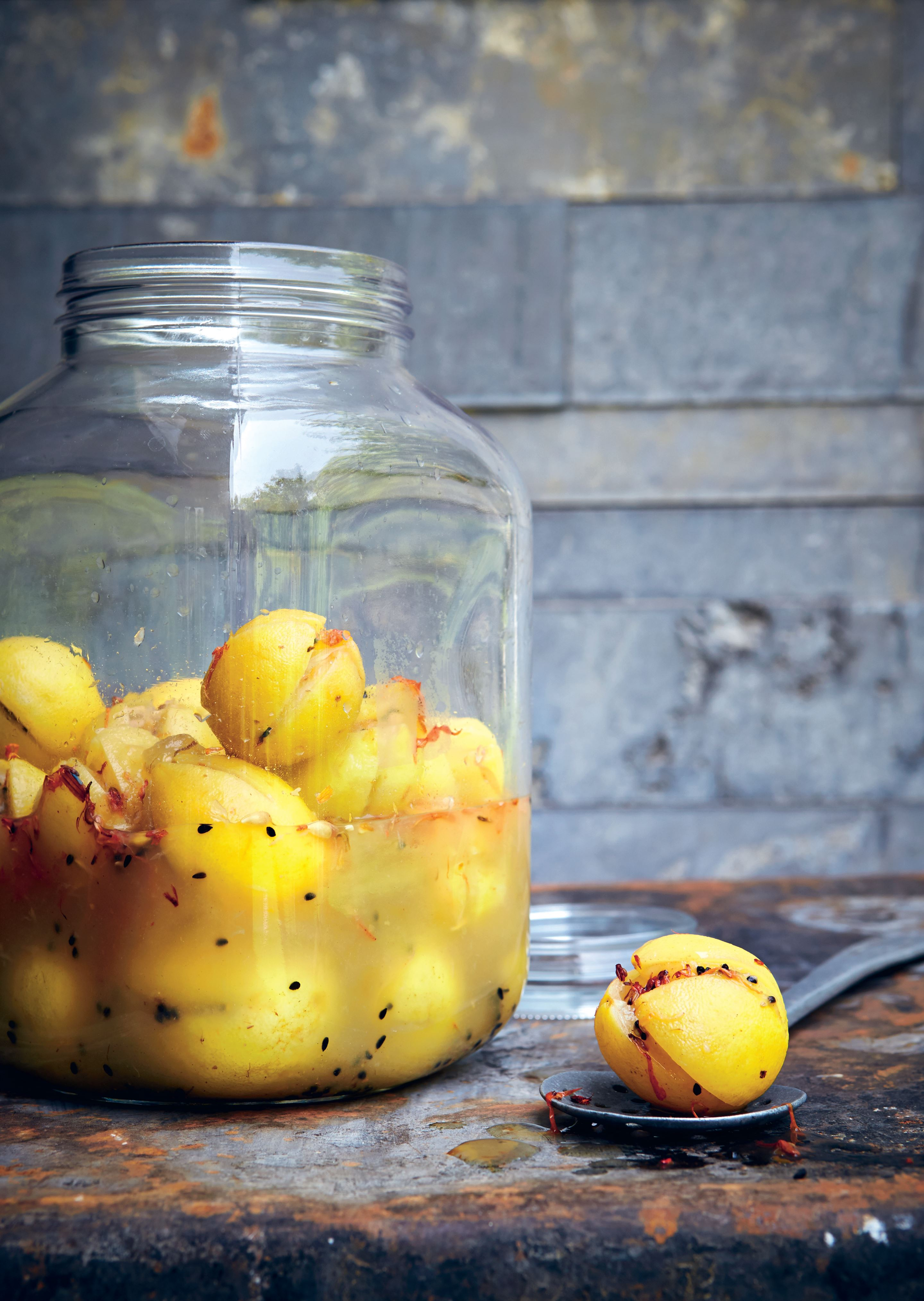 Pickled lemons with safflower