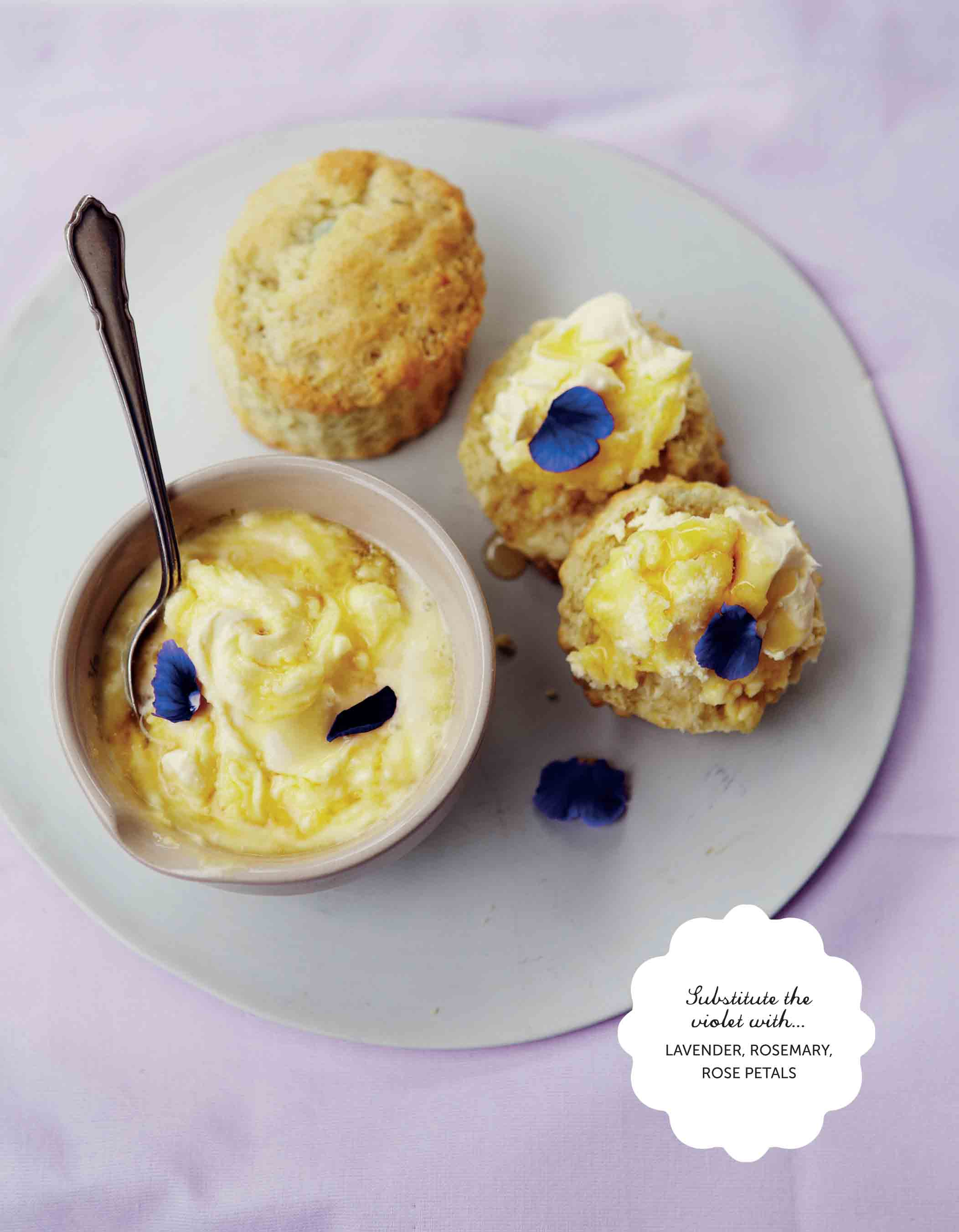 Violet scones with honeyed cream