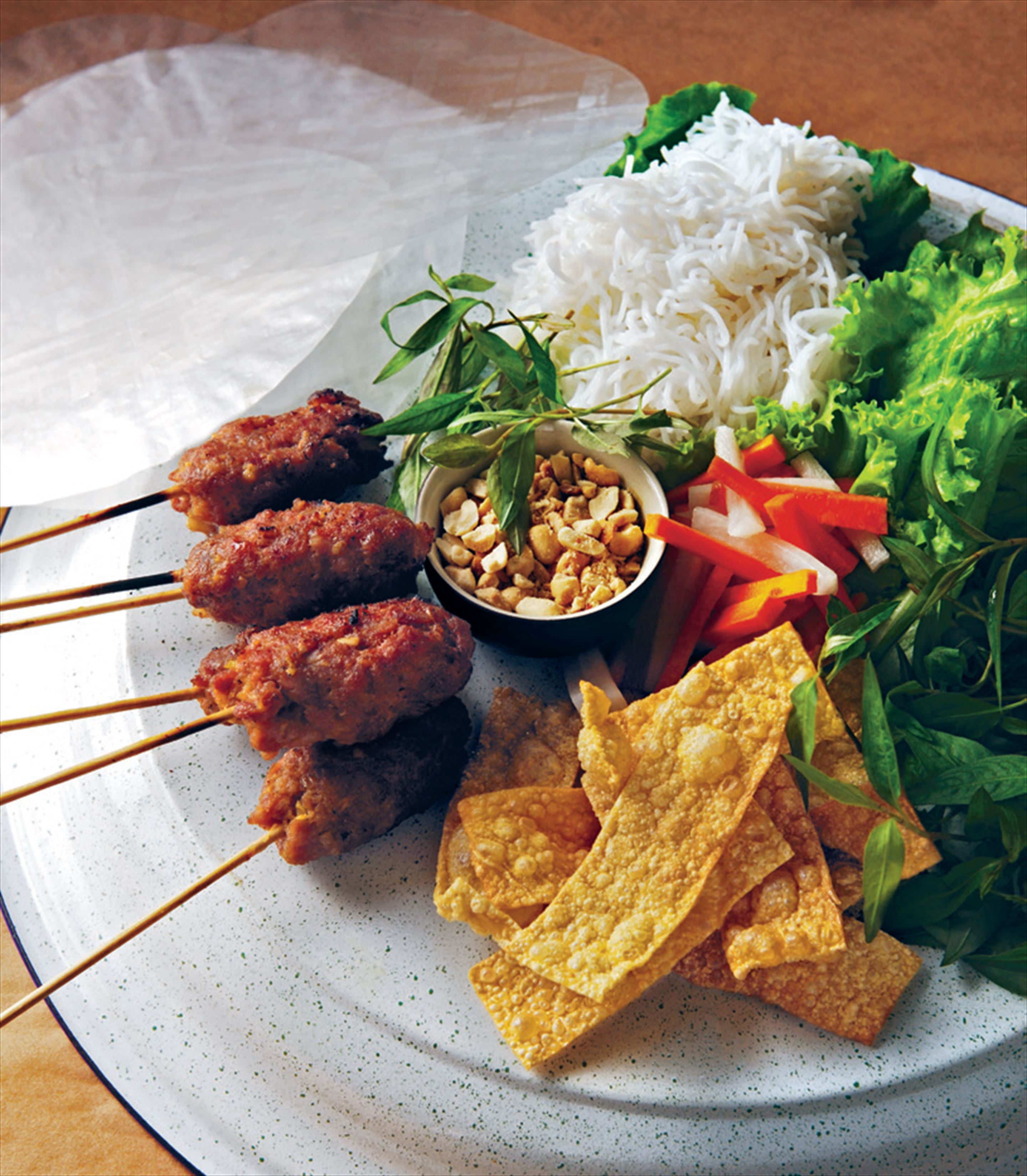 Pork skewers in rice paper
