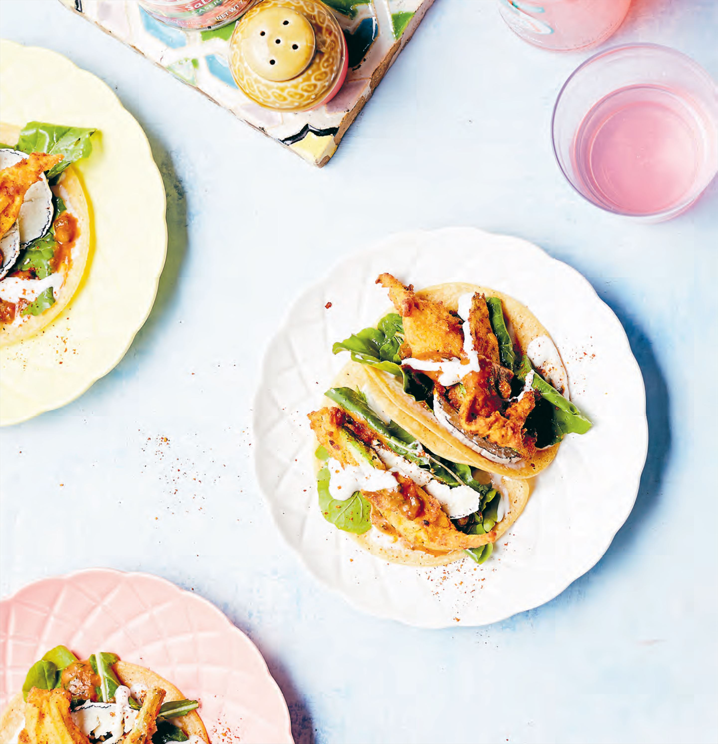 Zucchini flower & rocket tacos with goat's cheese & veracruz dressing