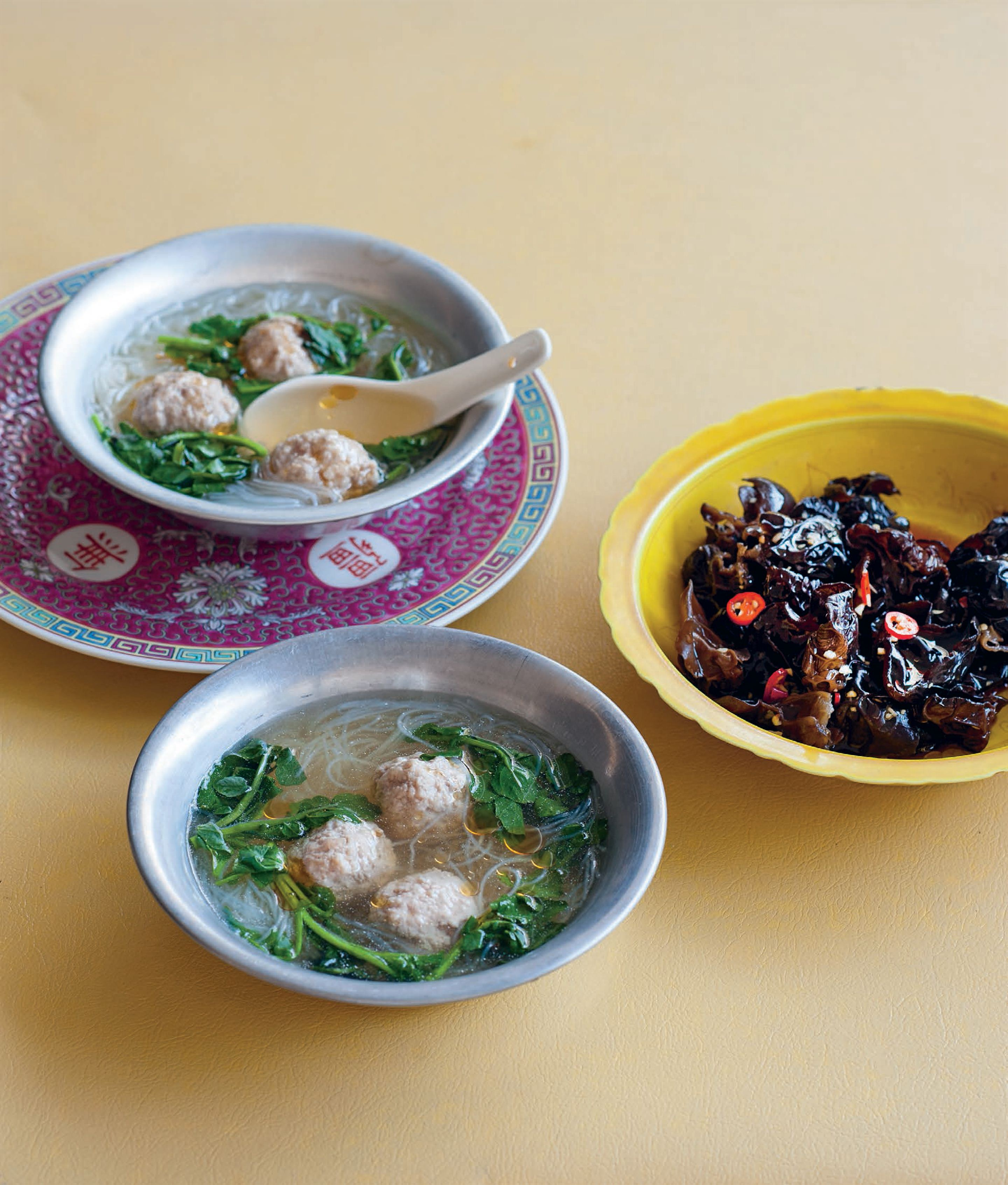Cress and pork ball soup