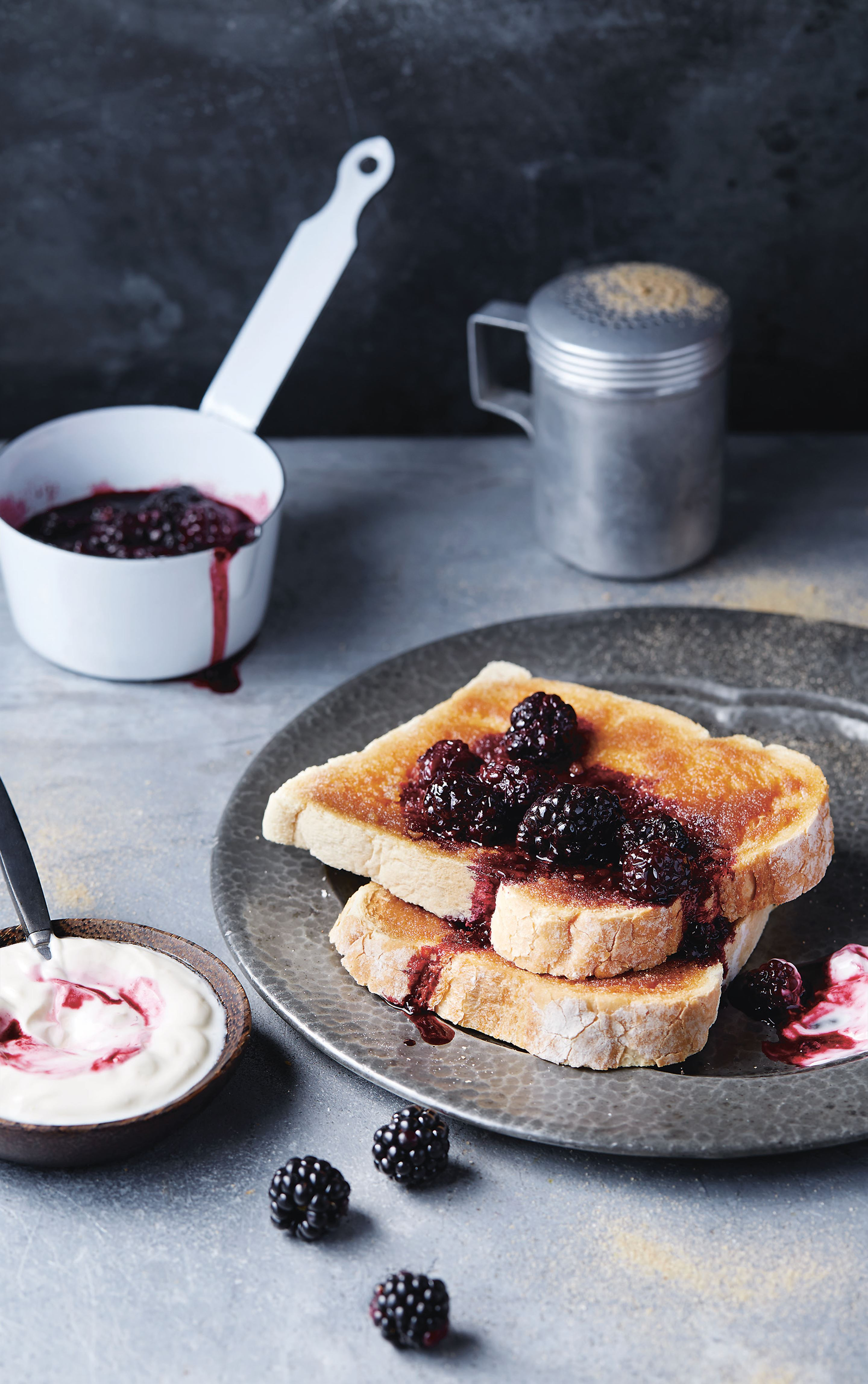 Chunky cinnamon toasts with blackberry compôte
