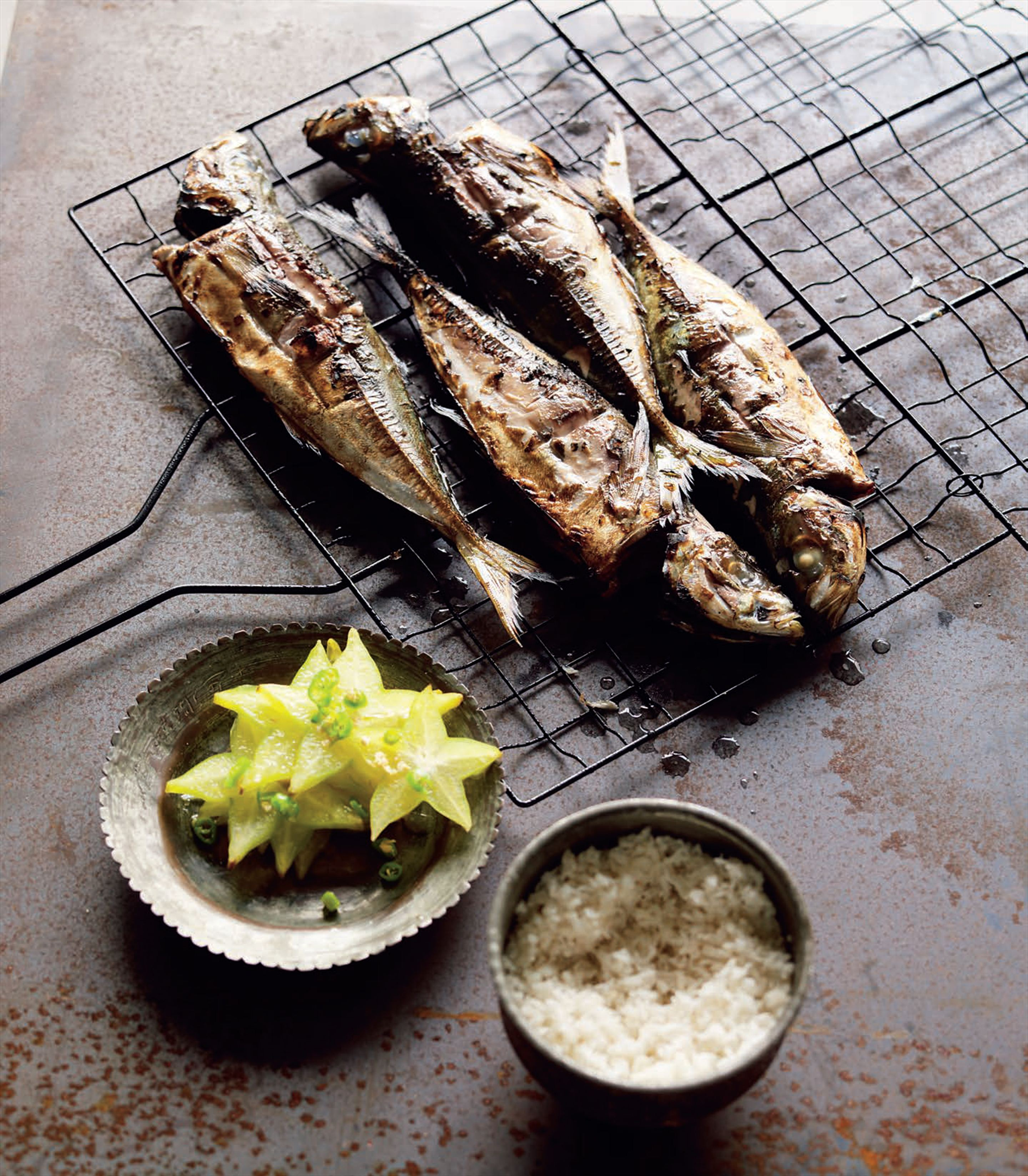 Grilled yellowtail with cassava rice and star fruit salad