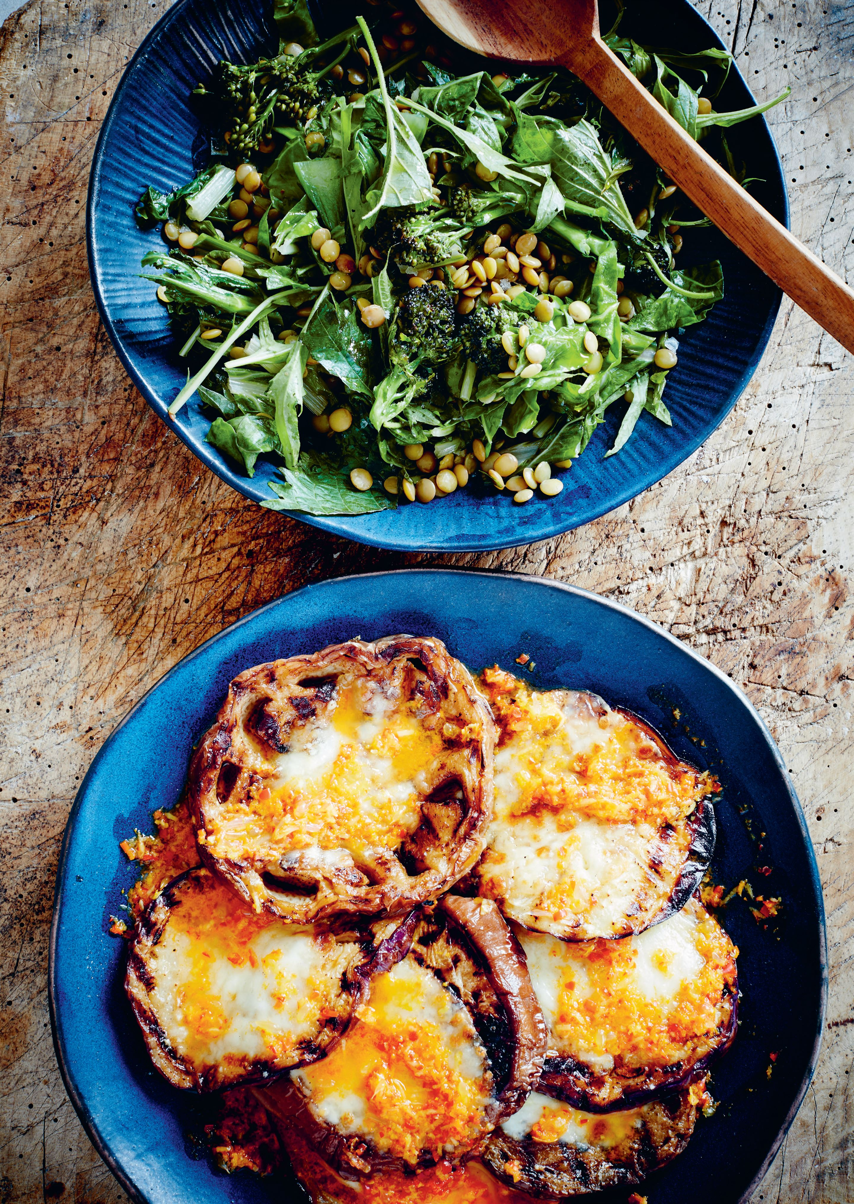 Grilled aubergines with mozzarella and yuzukosho