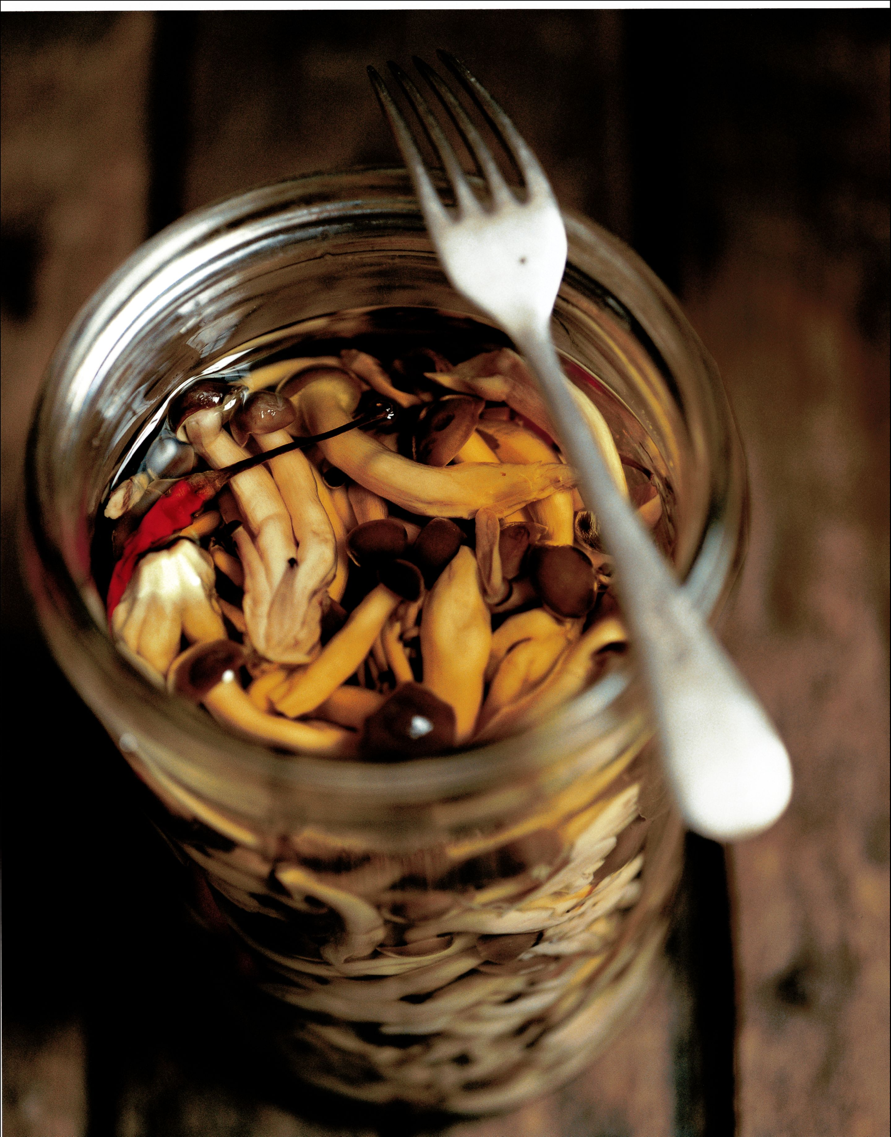 Pickled mushrooms in oil