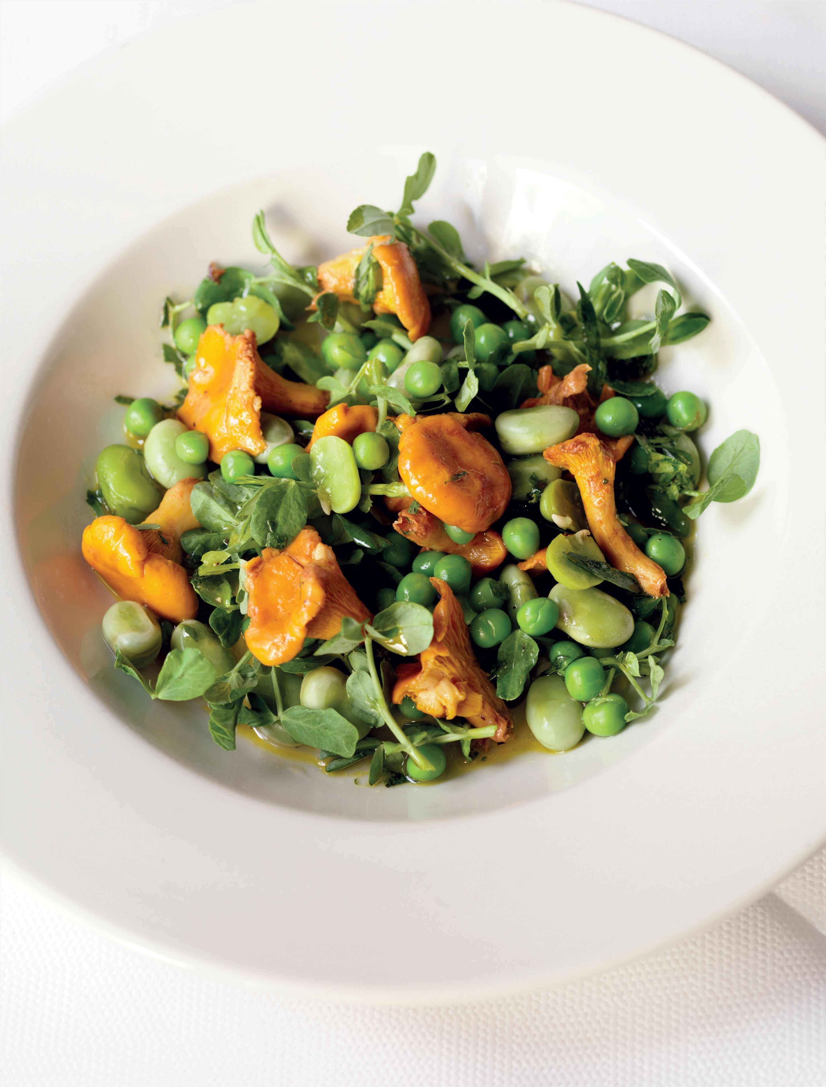 Broad bean, pea and girolle salad