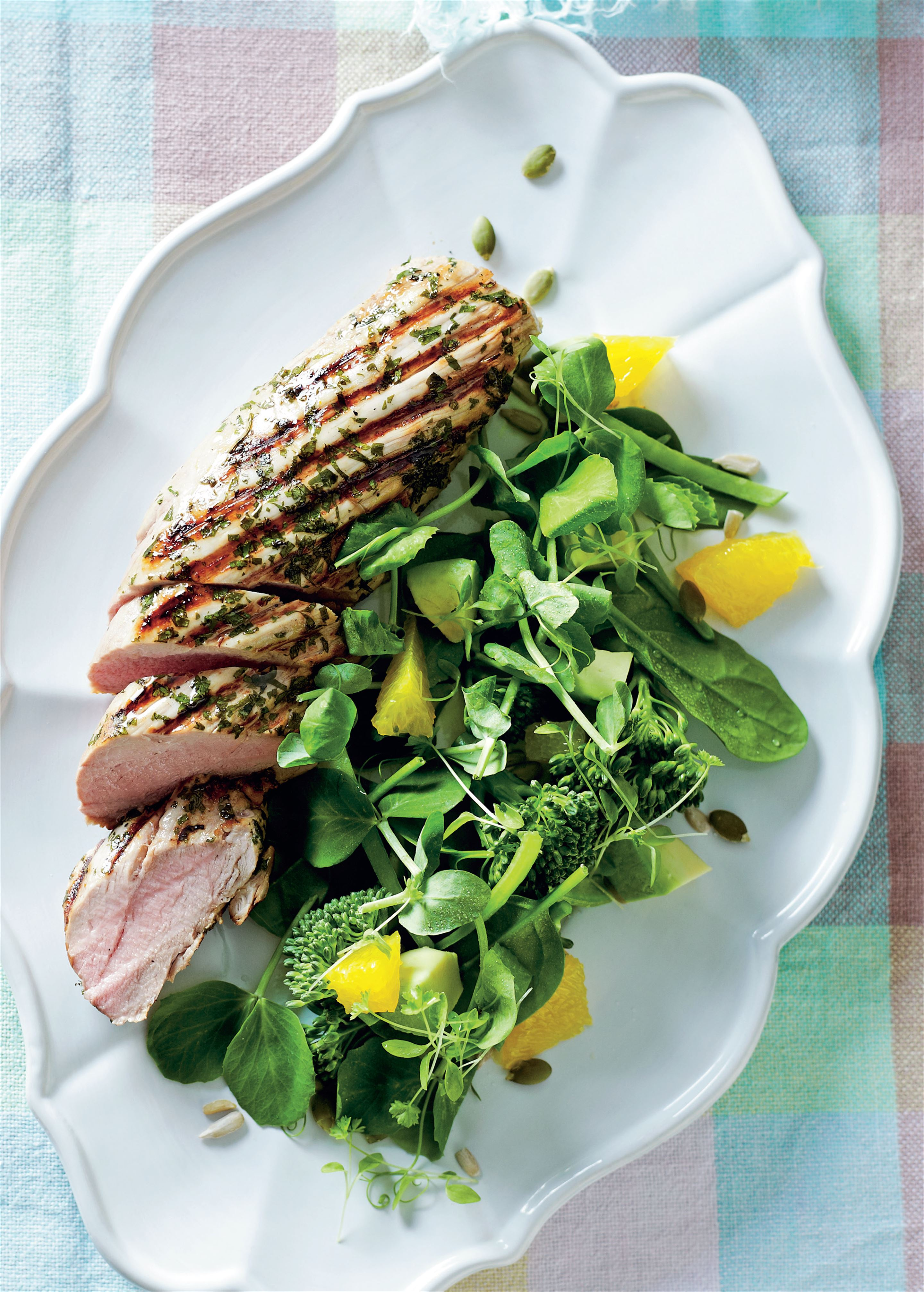 Spiced orange pork tenderloin with wellbeing power salad