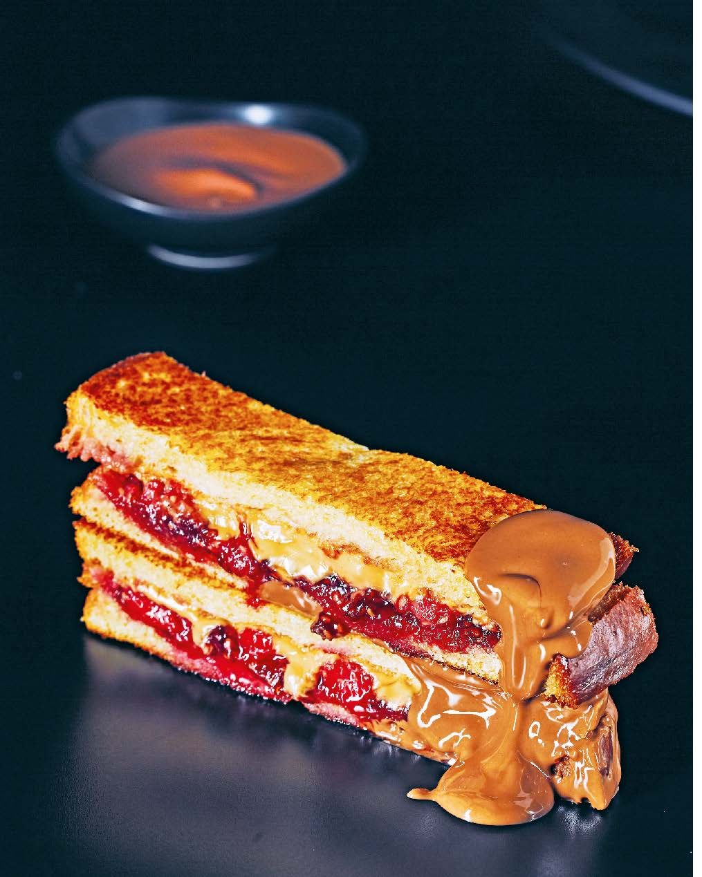 Peanut butter, raspberry + milk chocolate toastie