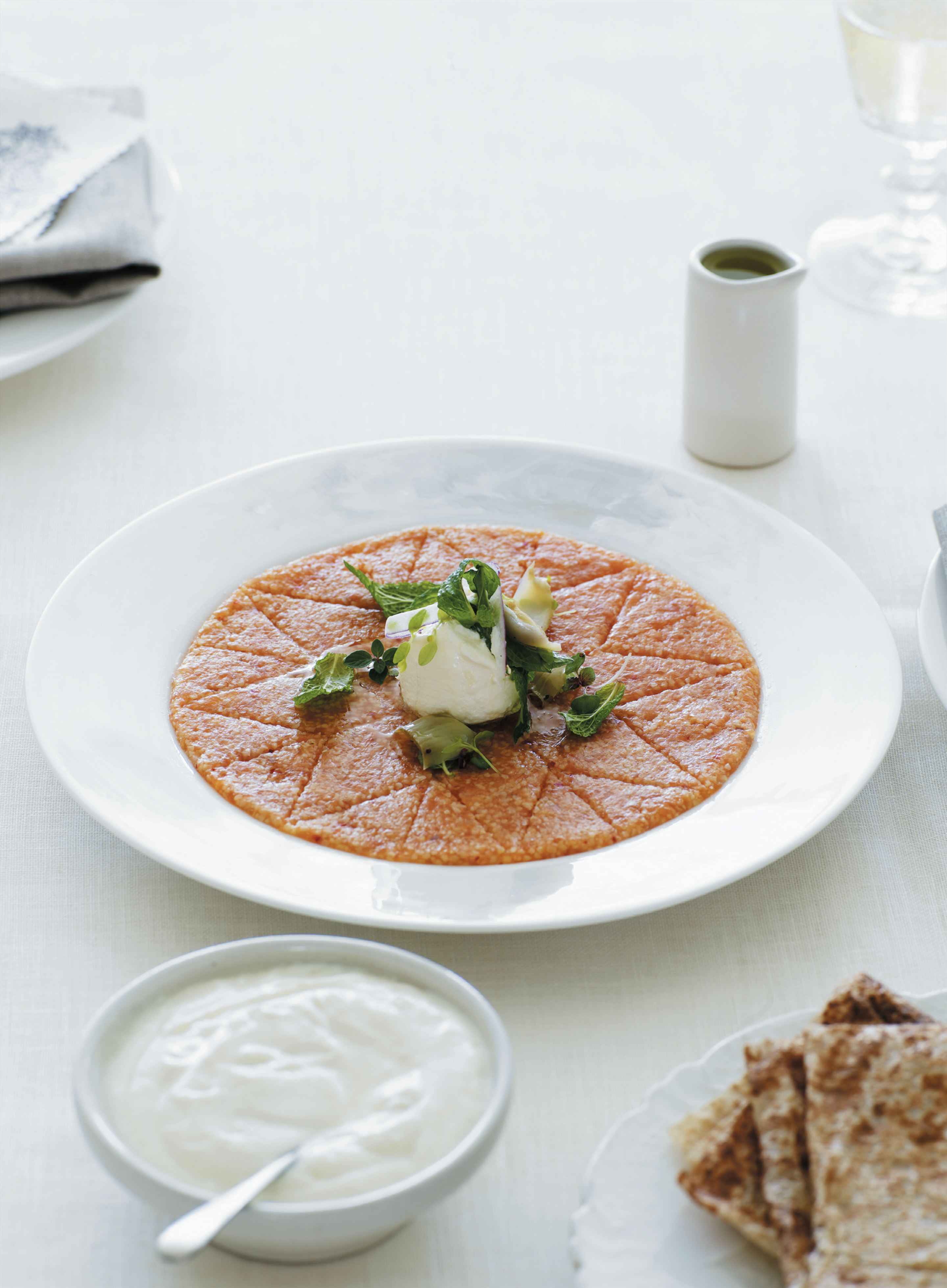 Salmon kibbeh nayeh with a soft herb salad