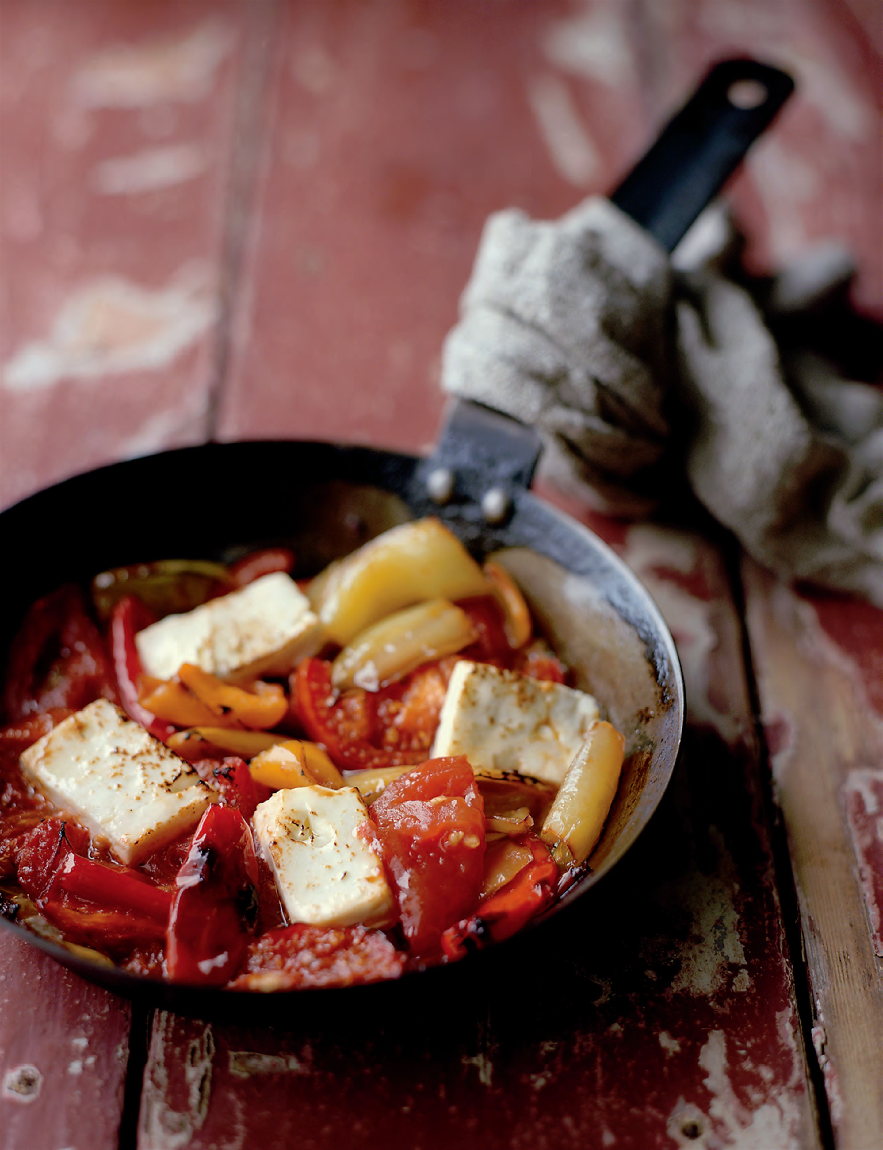 Tomato with feta and hot peppers