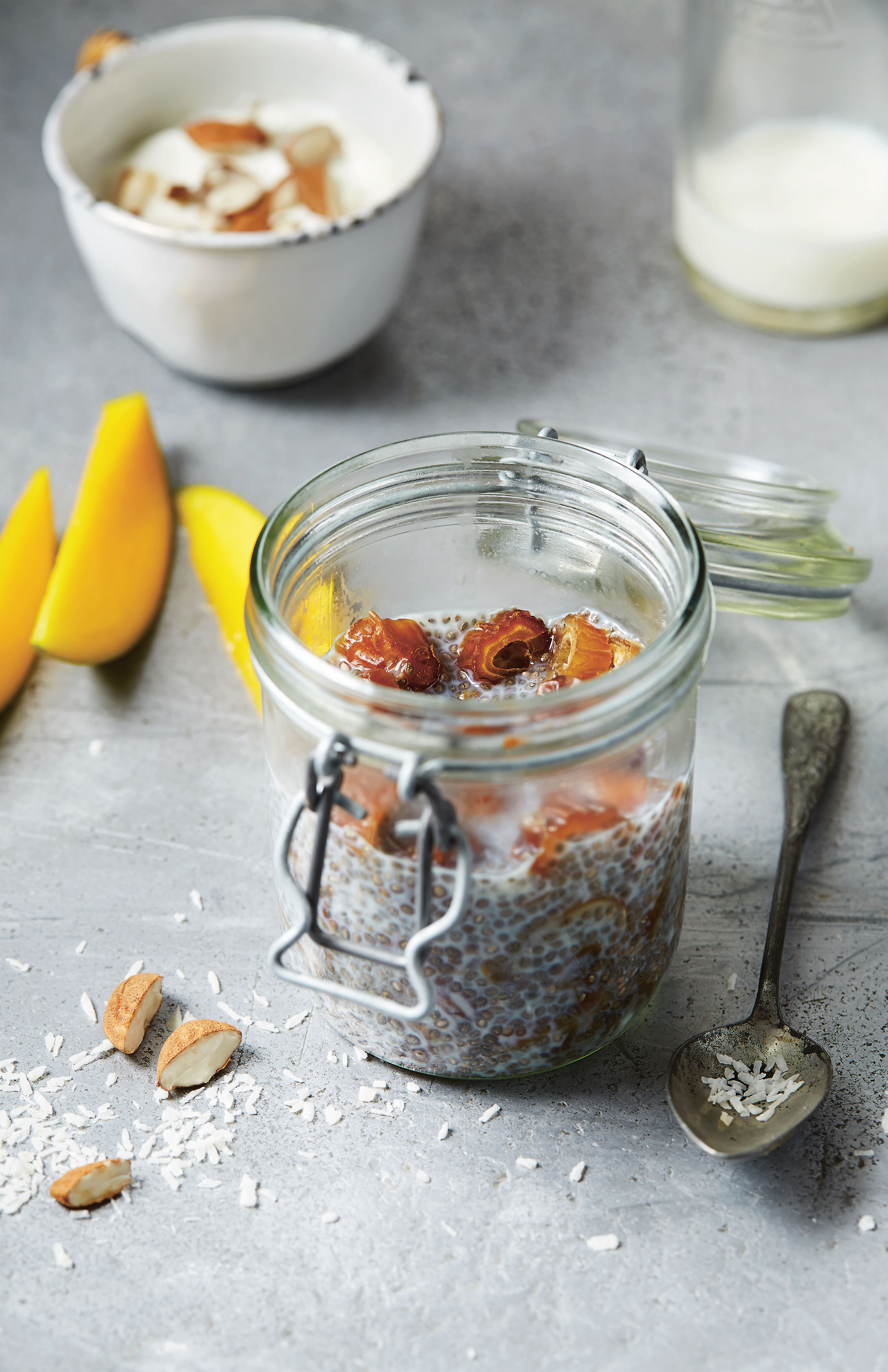 Chia seed, coconut and date breakfast bowl