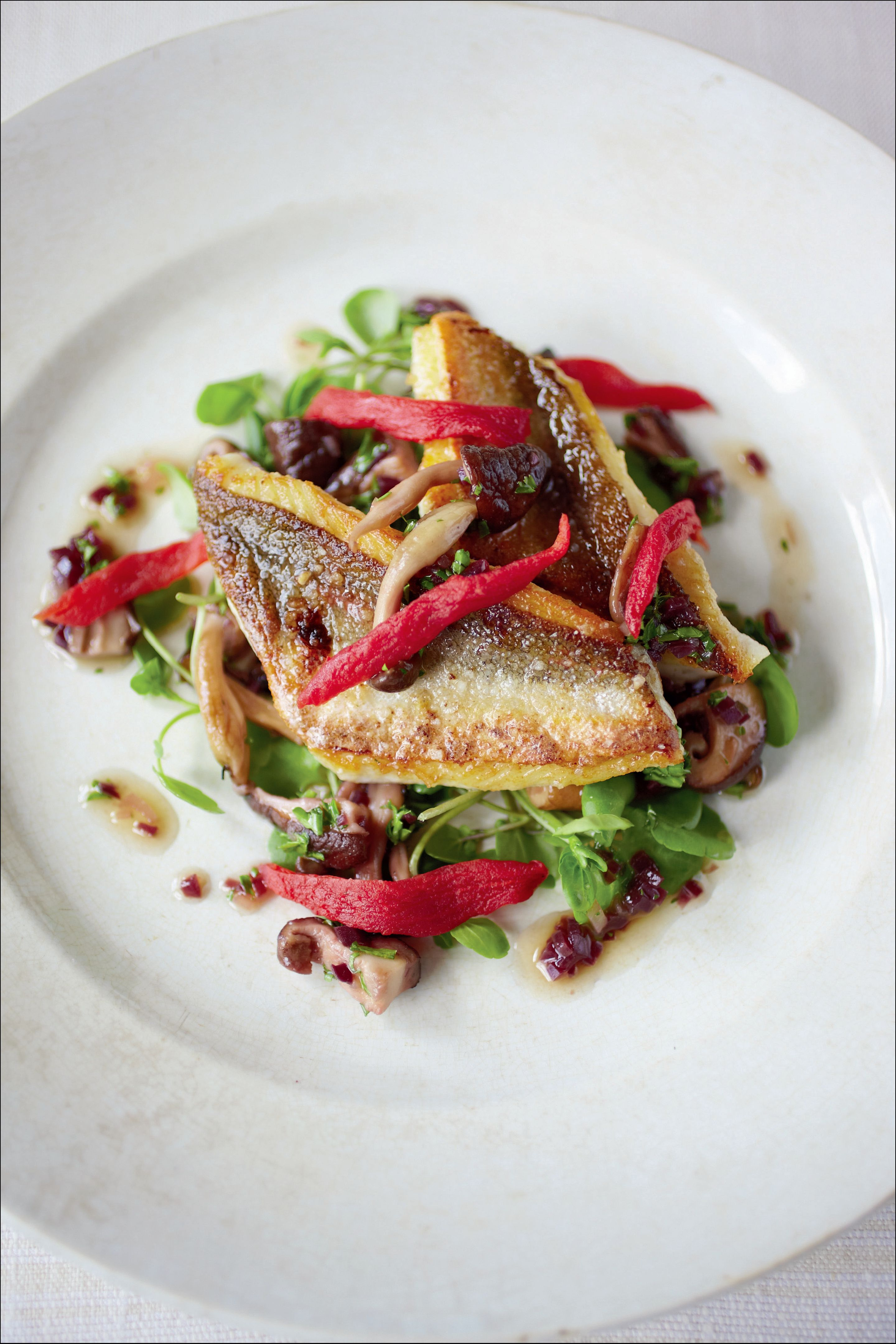 Red gurnard with mushrooms, garlic, parsley and oven-dried tomatoes