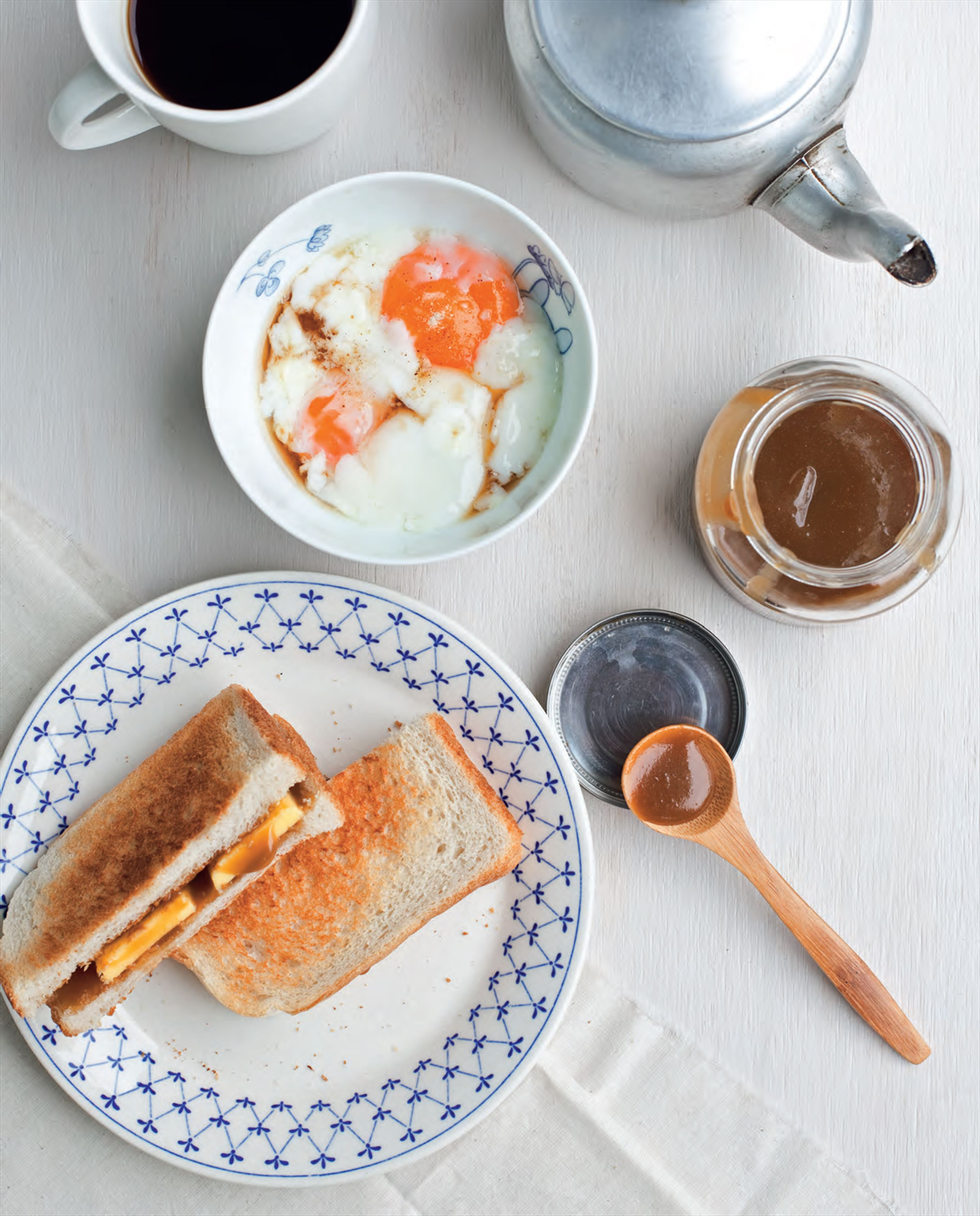 Kaya toast and soft-boiled eggs
