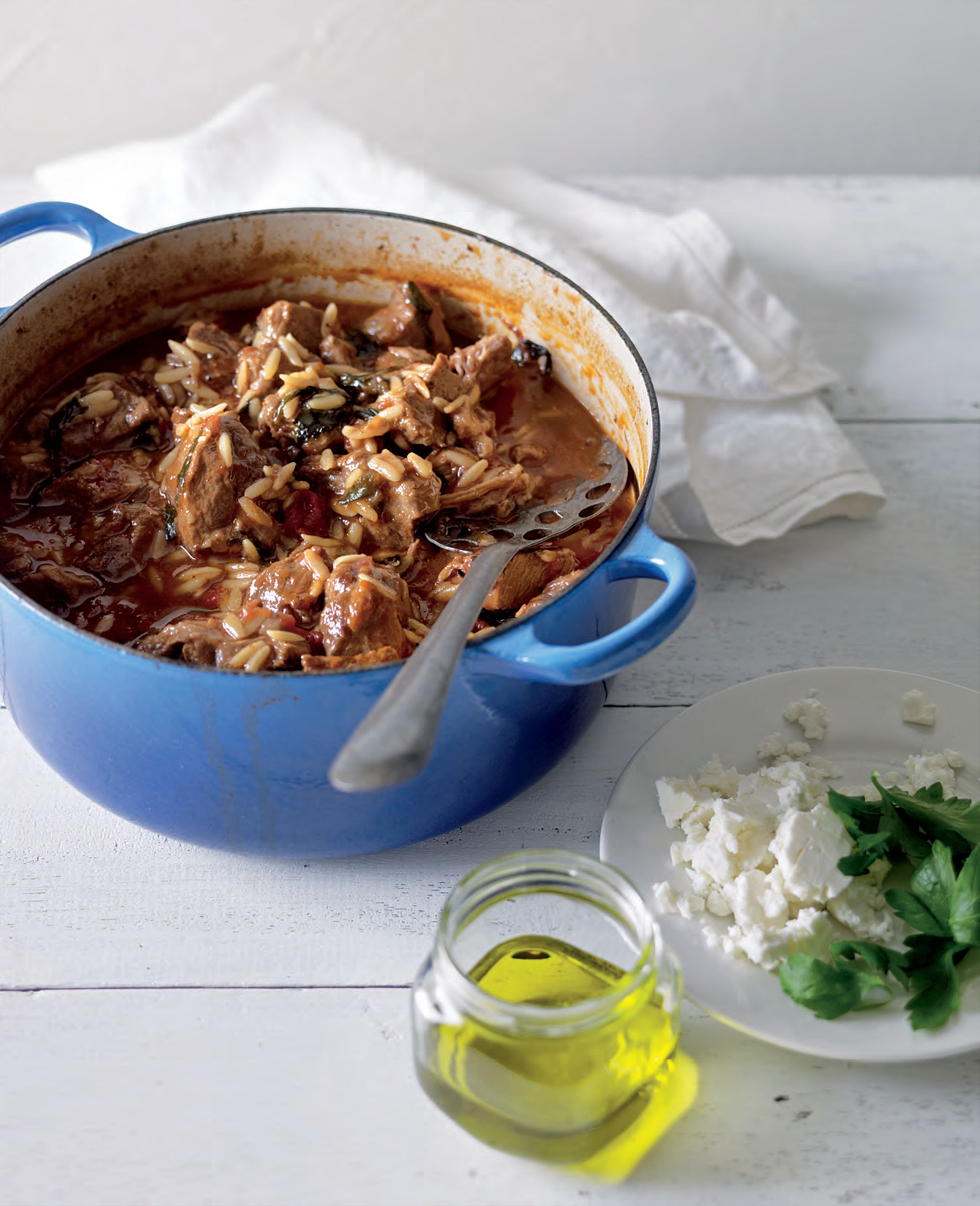 Braised veal with orzo