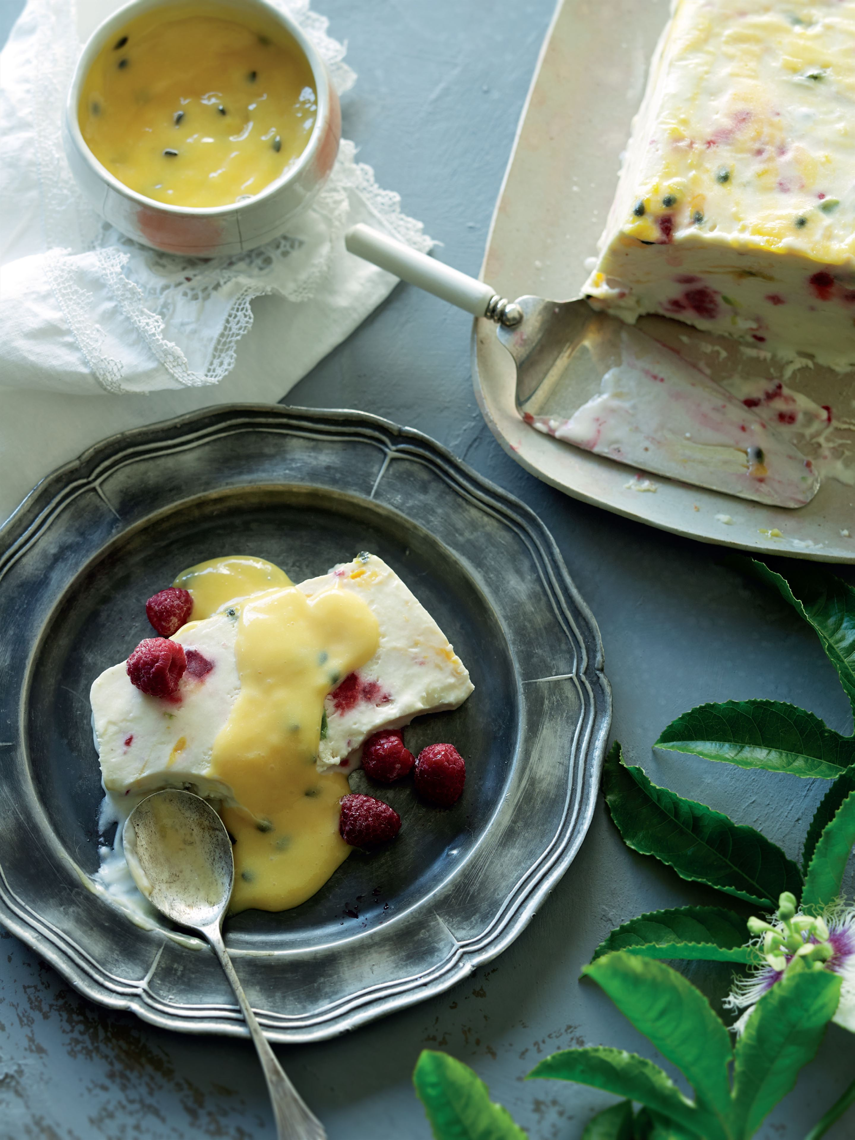 Passionfruit and raspberry nougat parfait