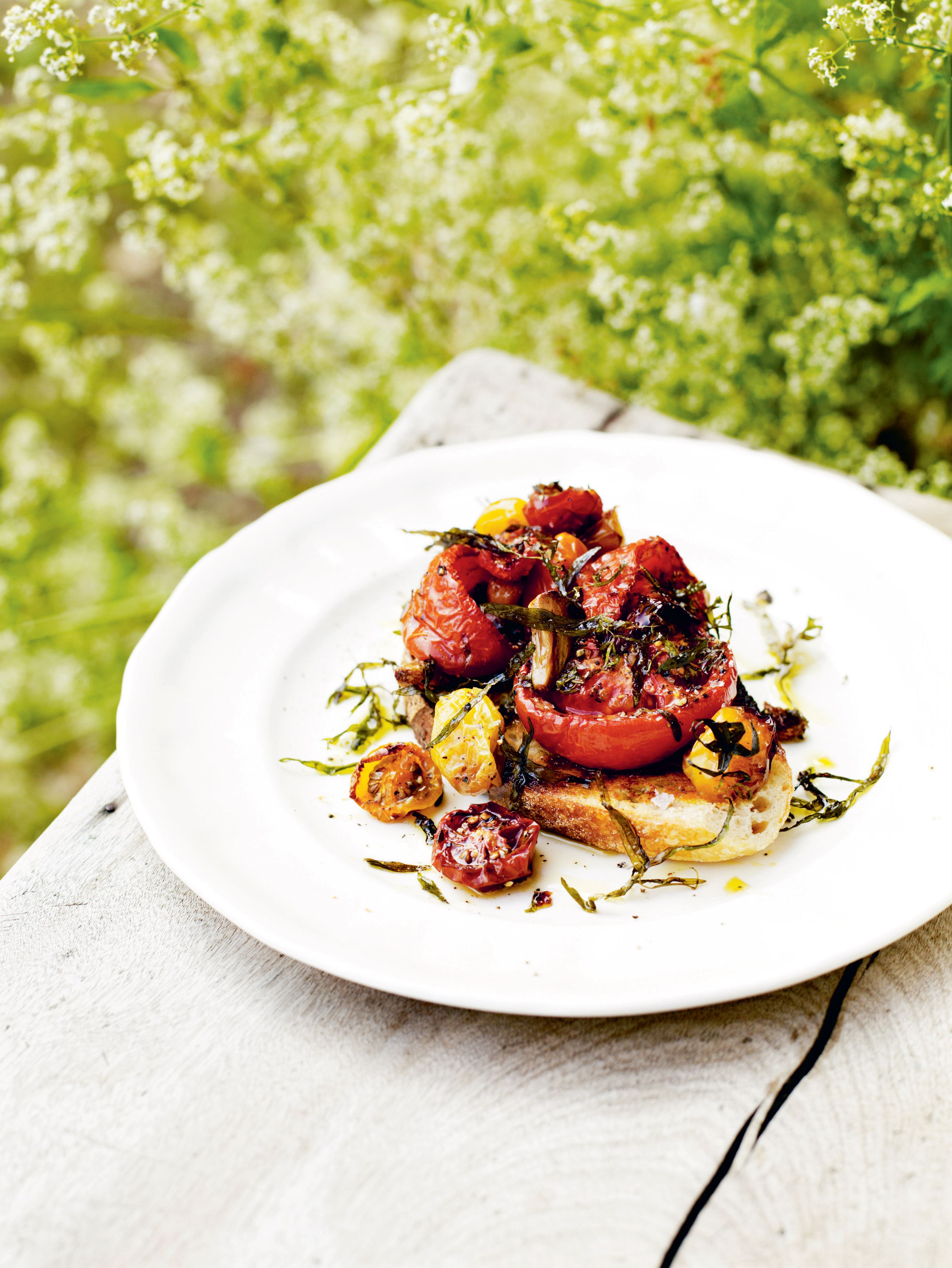 Roast tomatoes on toast with tarragon & thyme