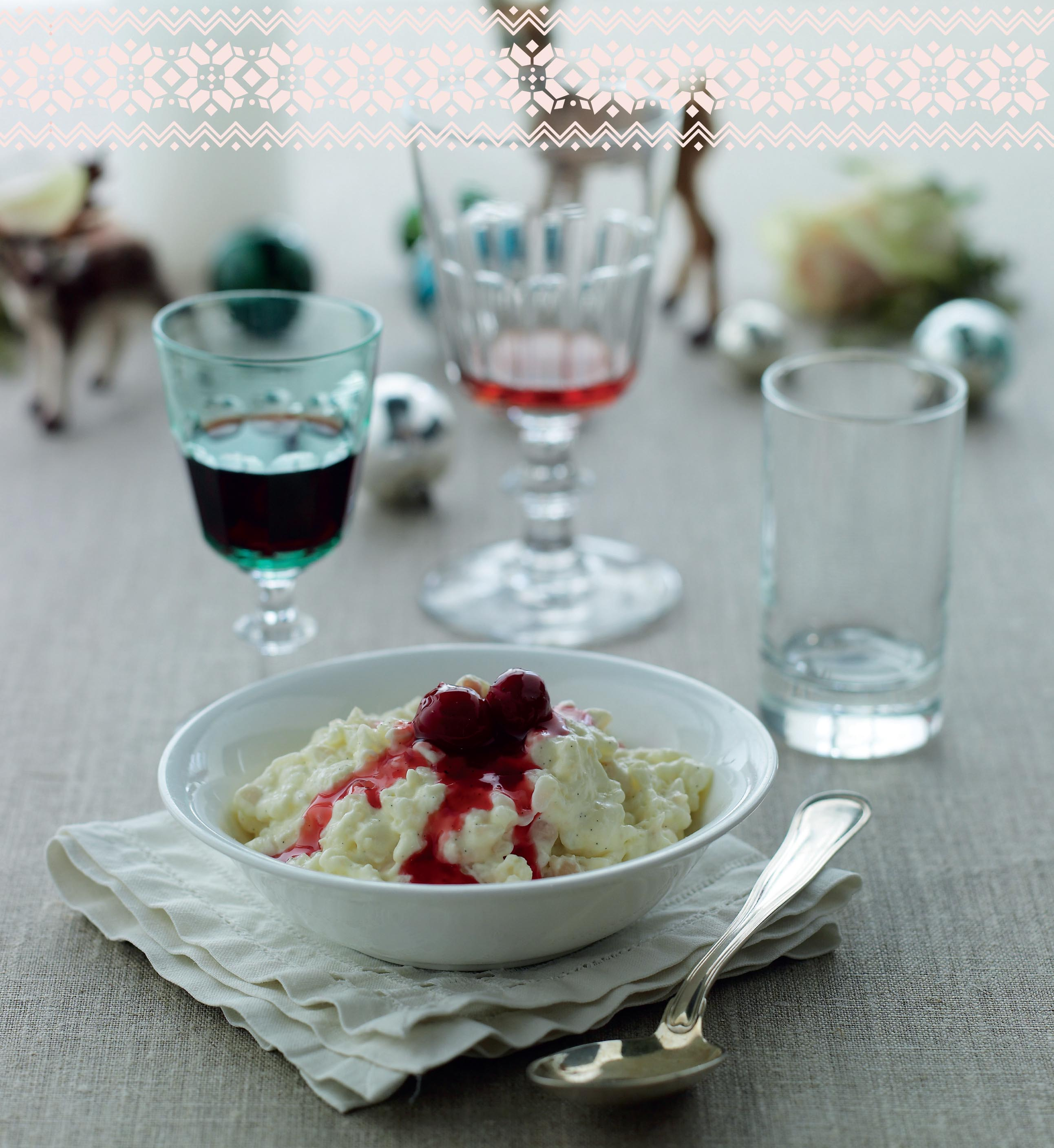 Rice pudding with hot cherry sauce