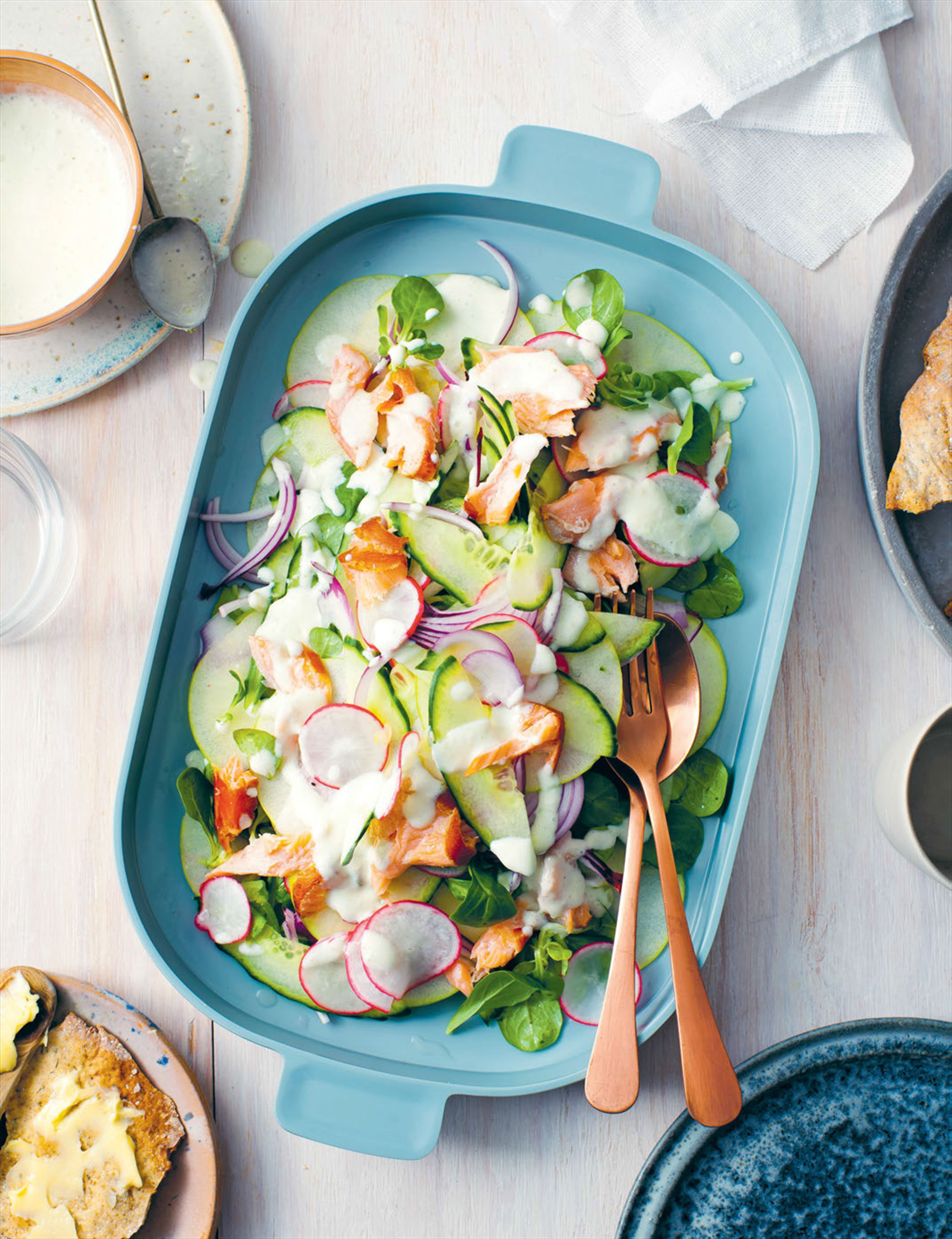 Hot-smoked salmon, roasted garlic & apple salad