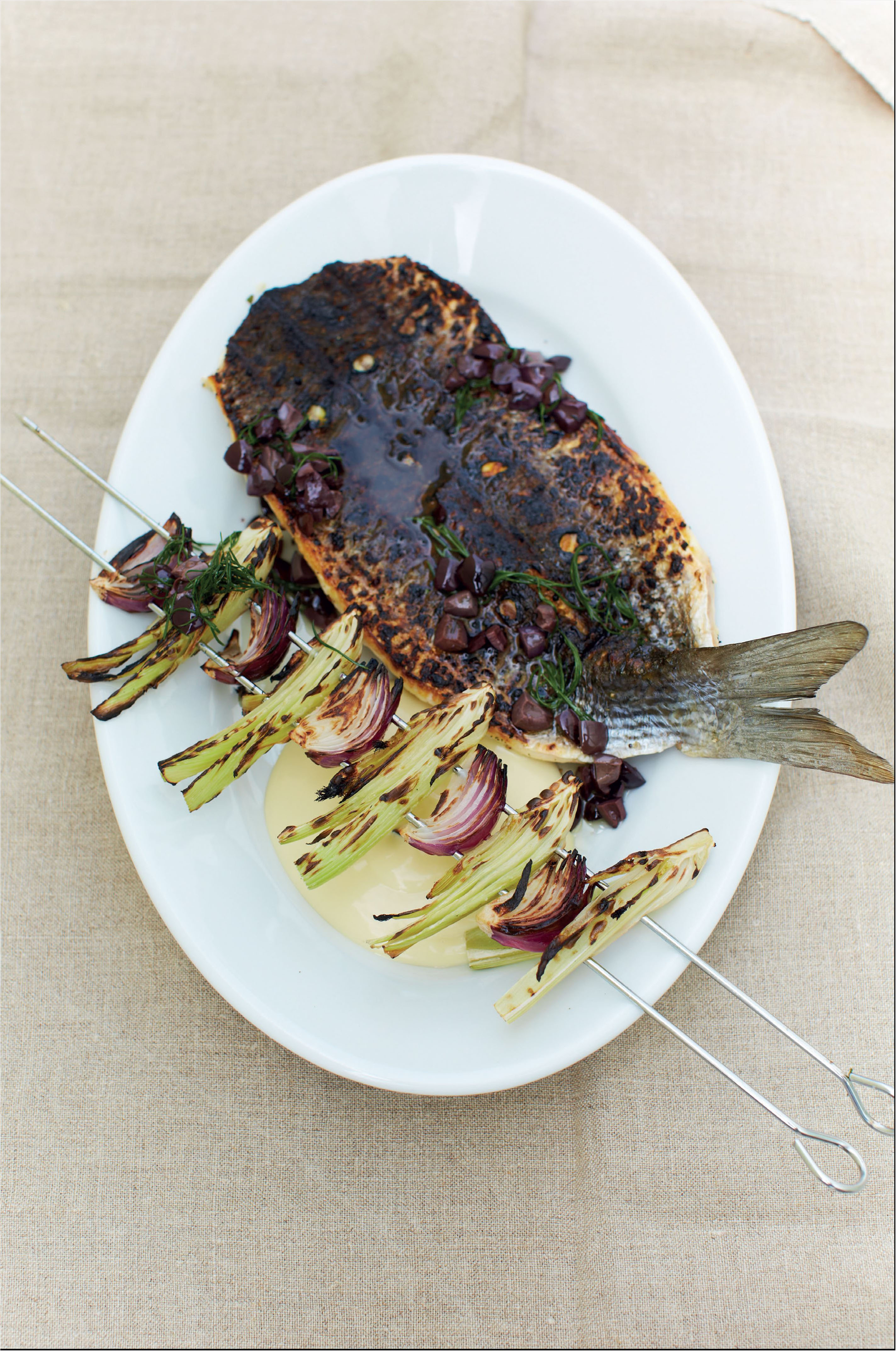 Barbecued grey mullet with garlic, fennel and olives