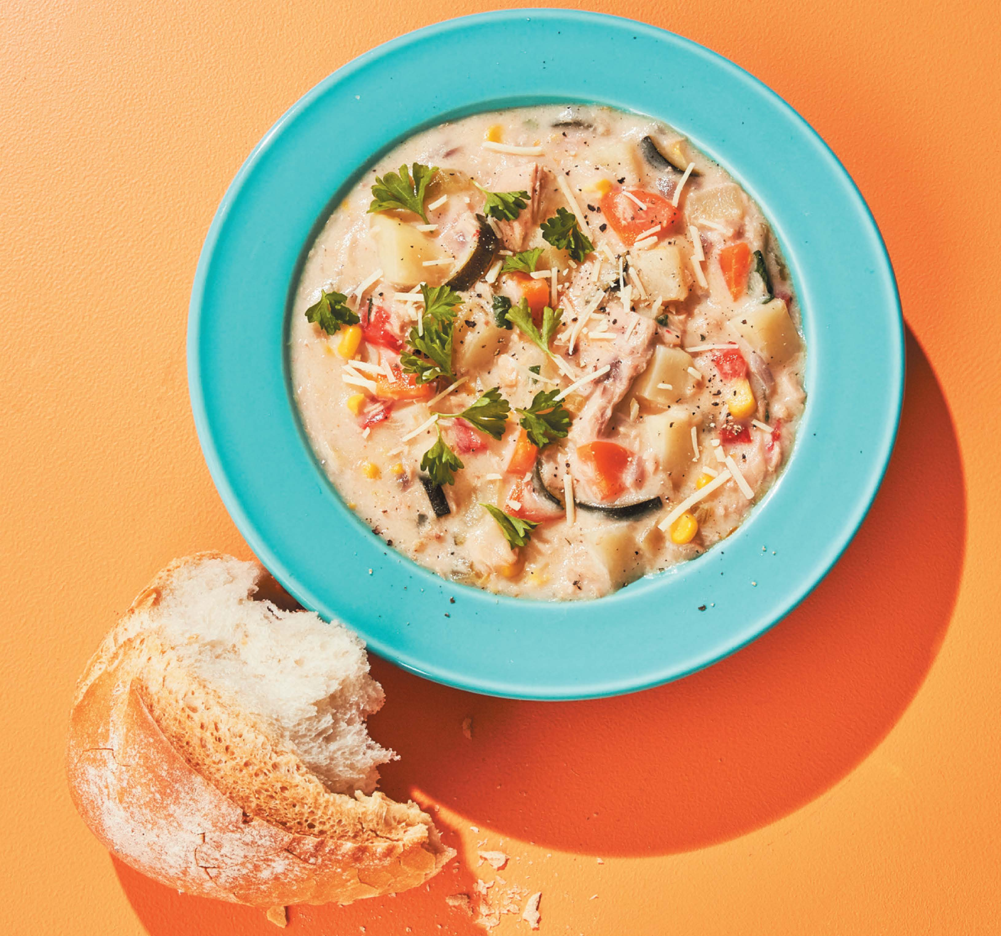 Potato, corn and tuna chowder