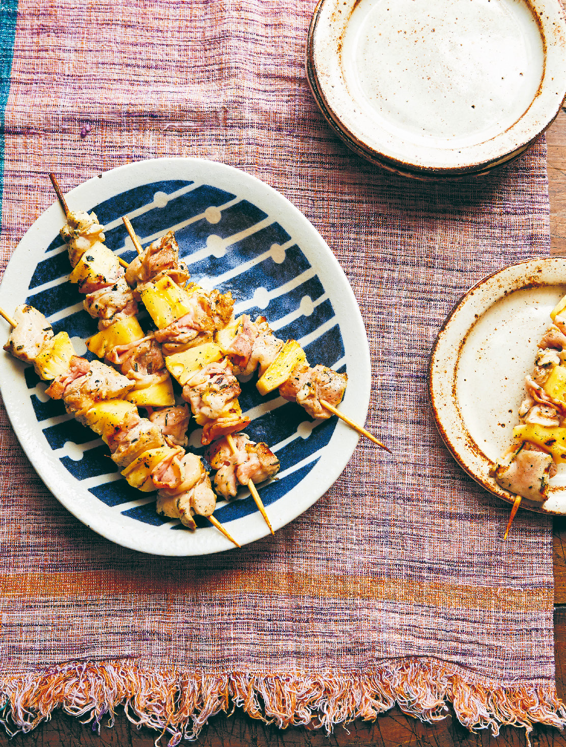Chicken, pineapple & bacon skewers