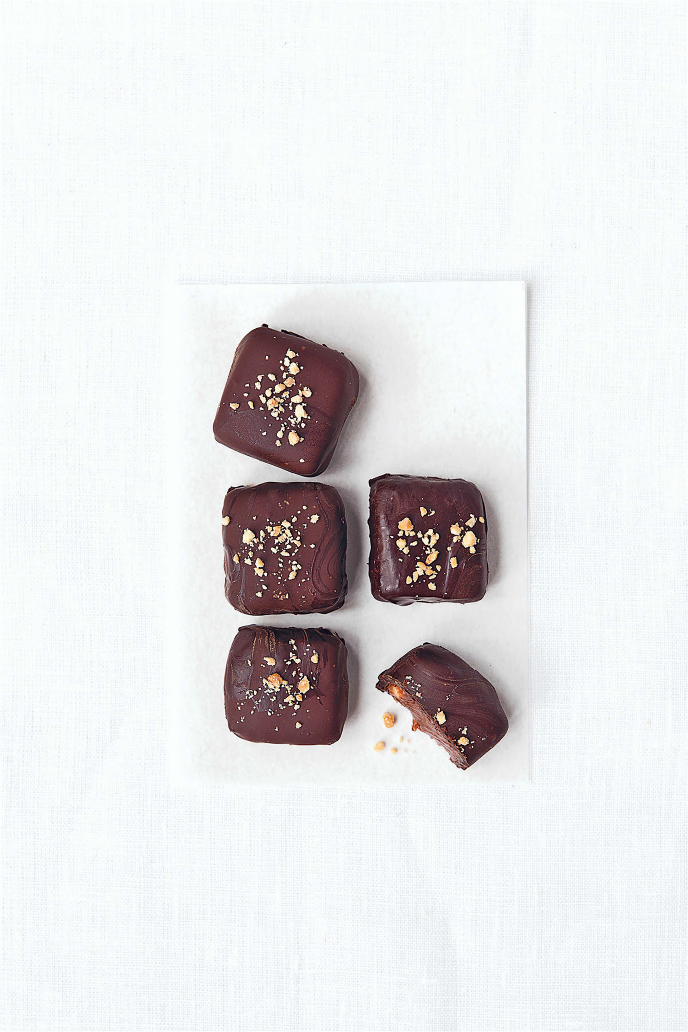 Chocolate and peanut ganache chocolates