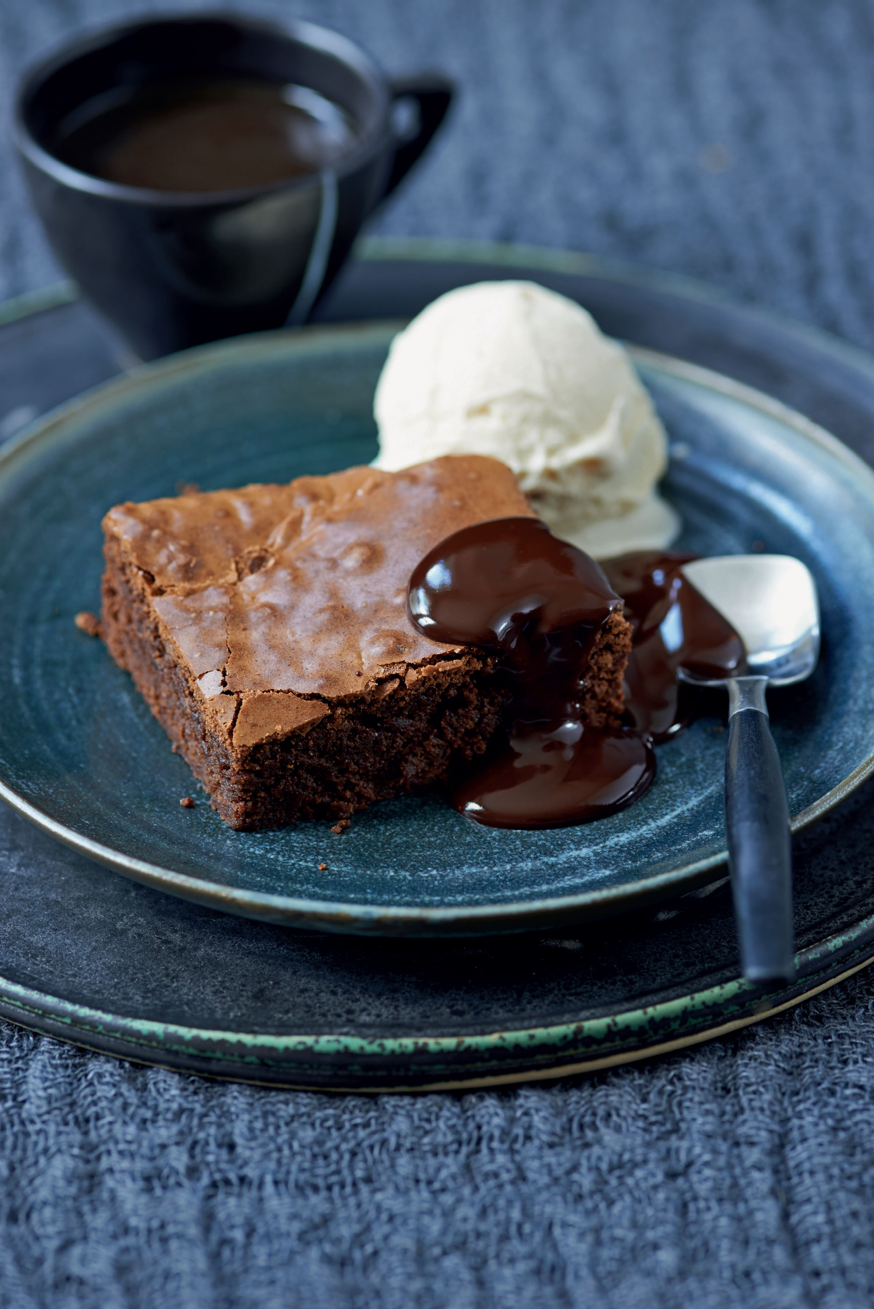 Espresso fudge brownies with hot mocha sauce