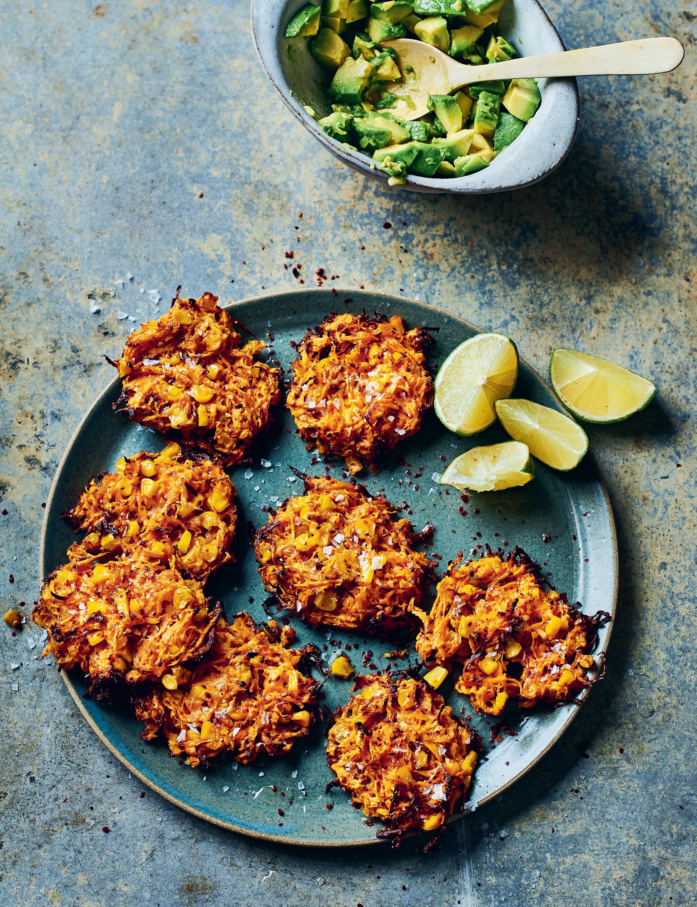 Sweet potato and corn fritters