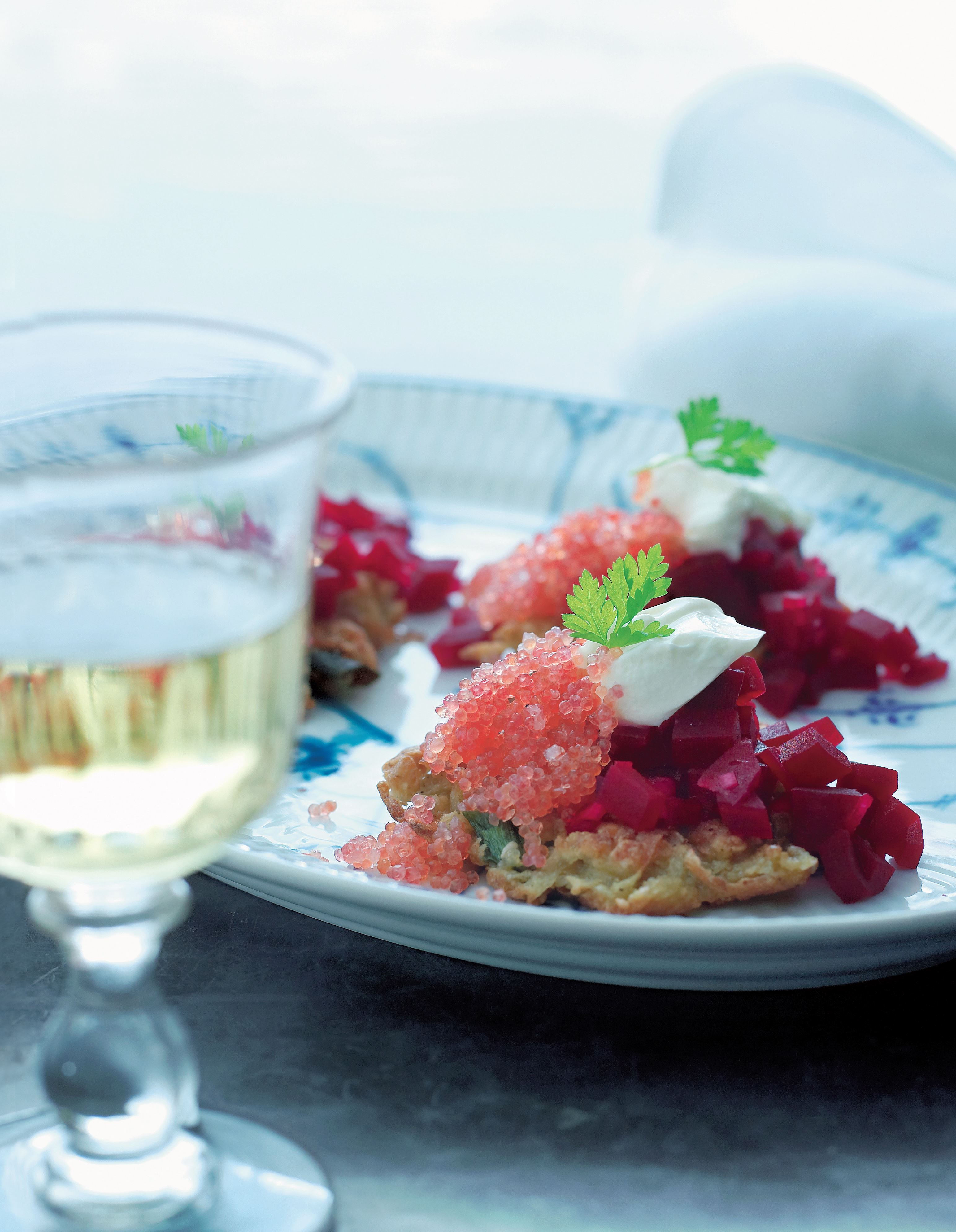 Potato cakes with lumpfish roe and beetroot salad