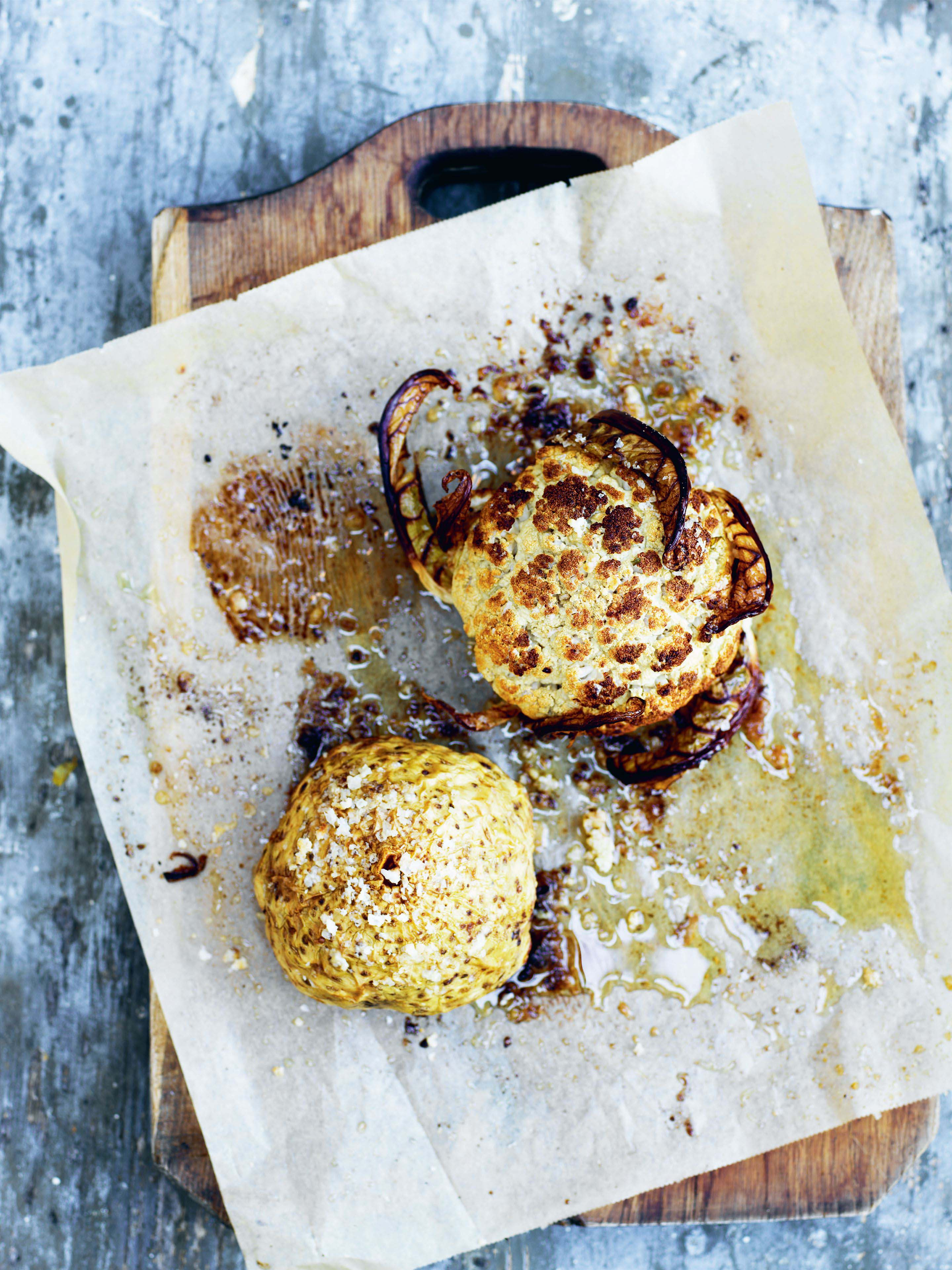 Whole baked celeriac and cauliflower