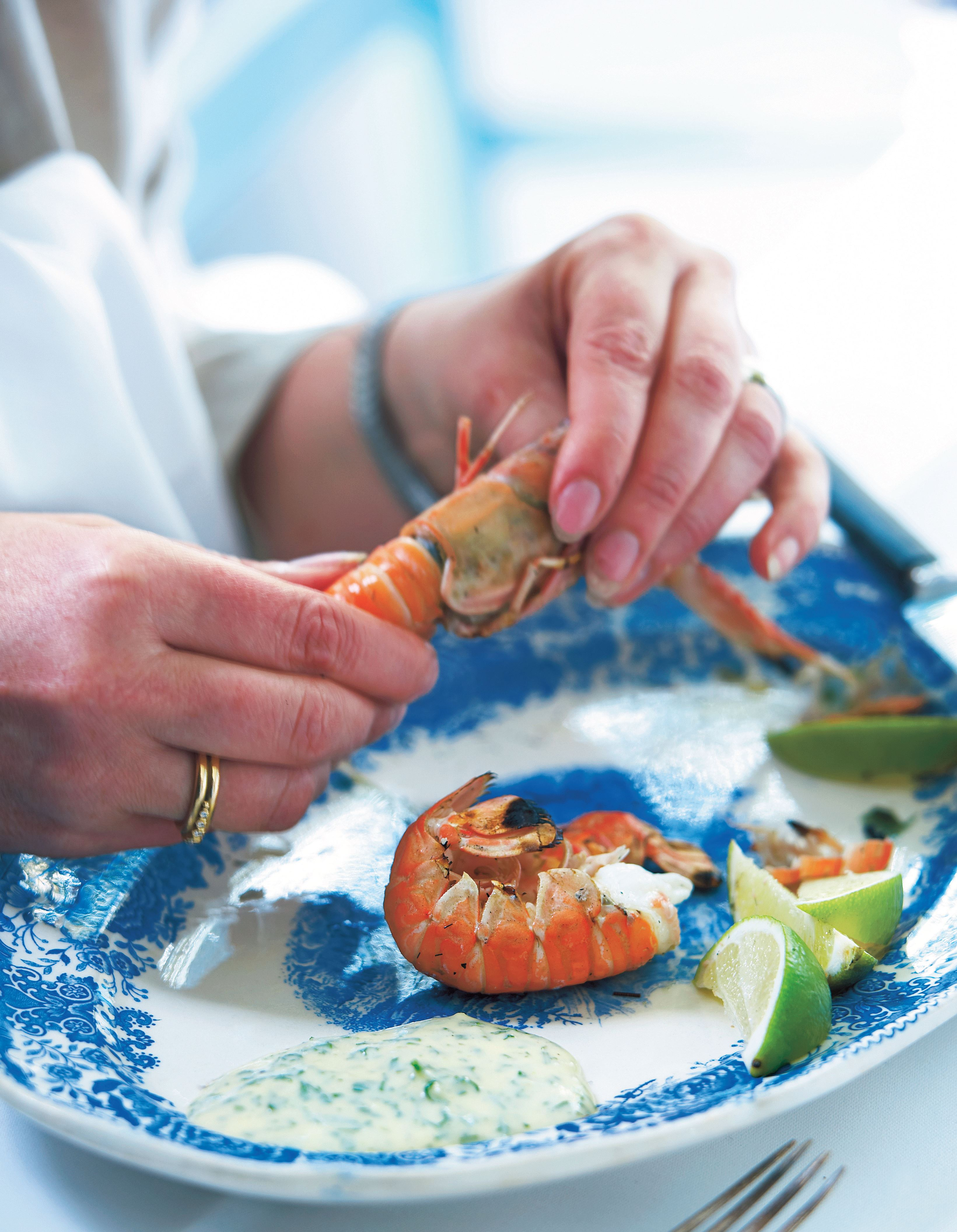 Langoustines with herb mayonnaise
