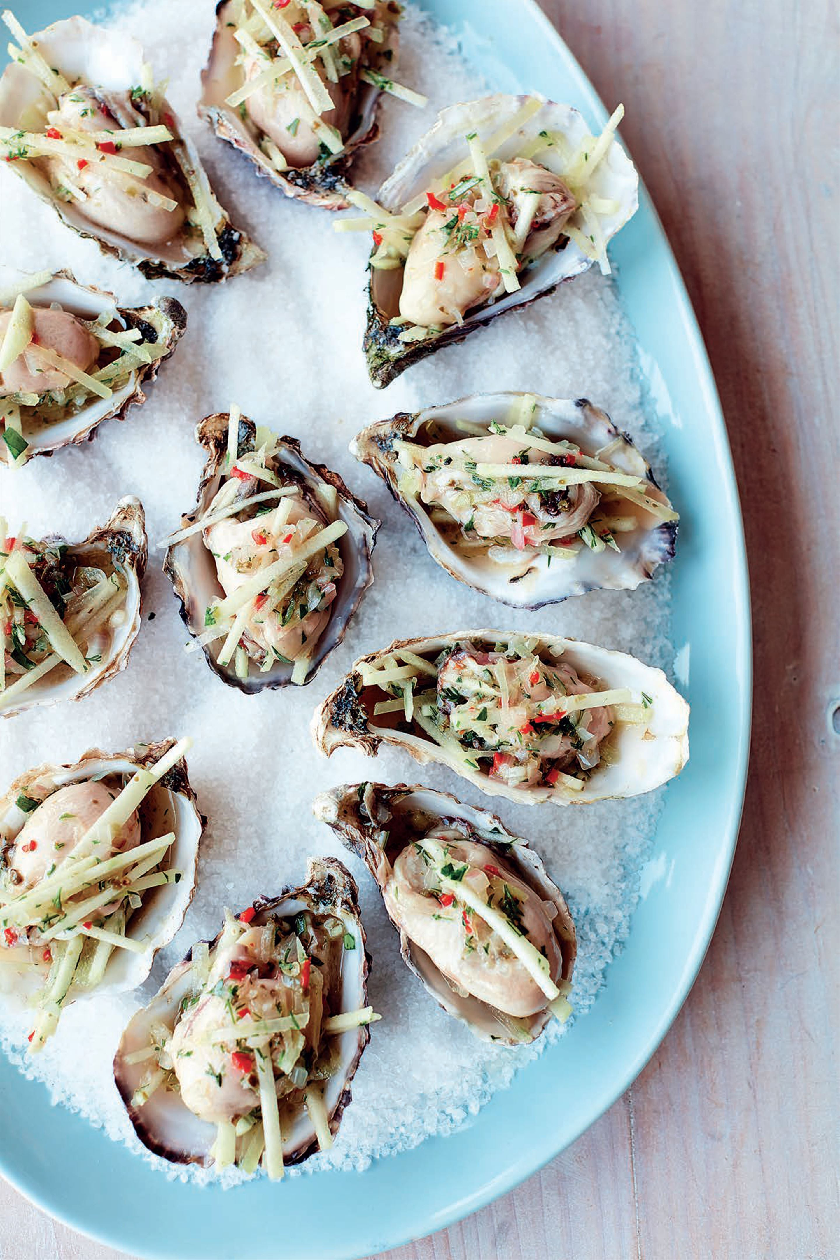 Cider-pickled oysters with shallot, caper and apple relish