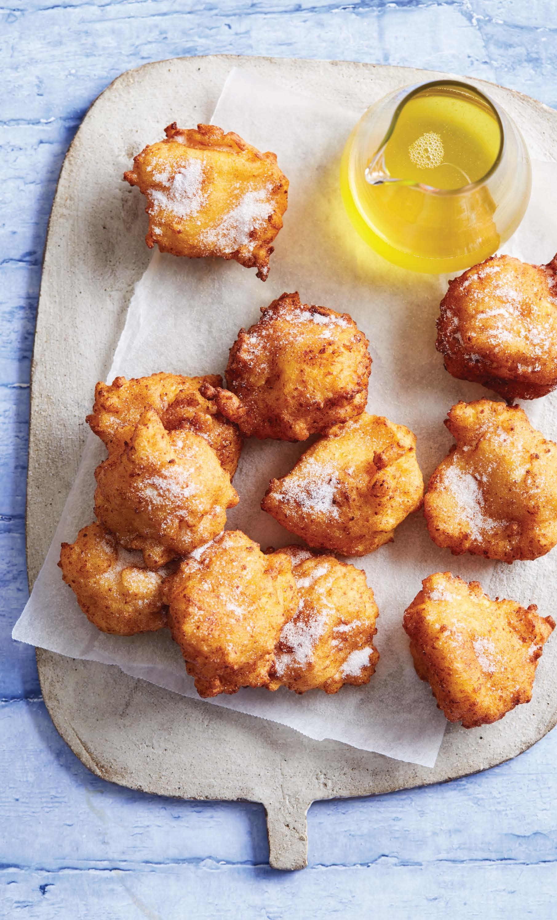 Sweet ricotta fritters with orange-honey syrup