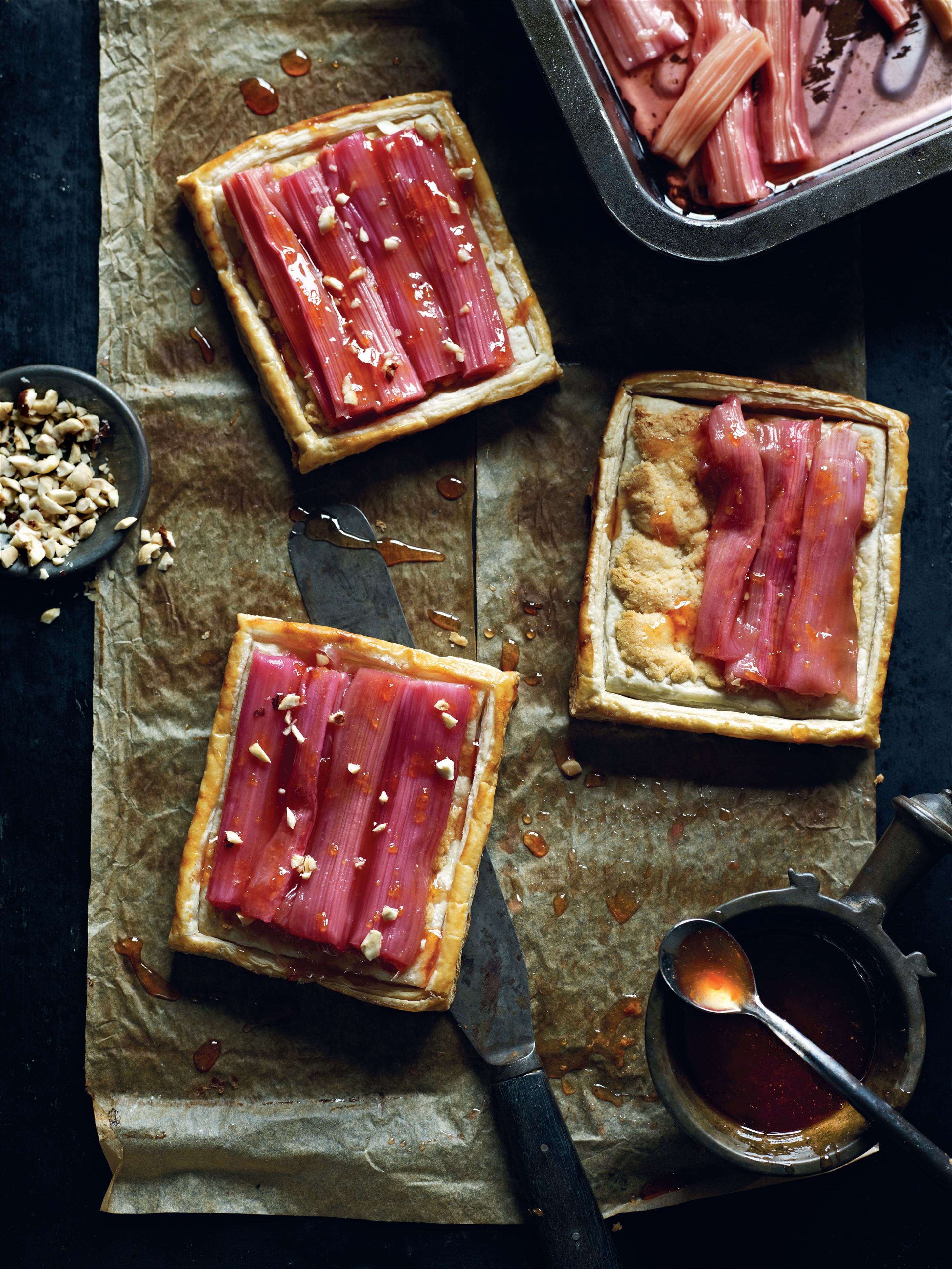 Roasted rhubarb and almond tartlets