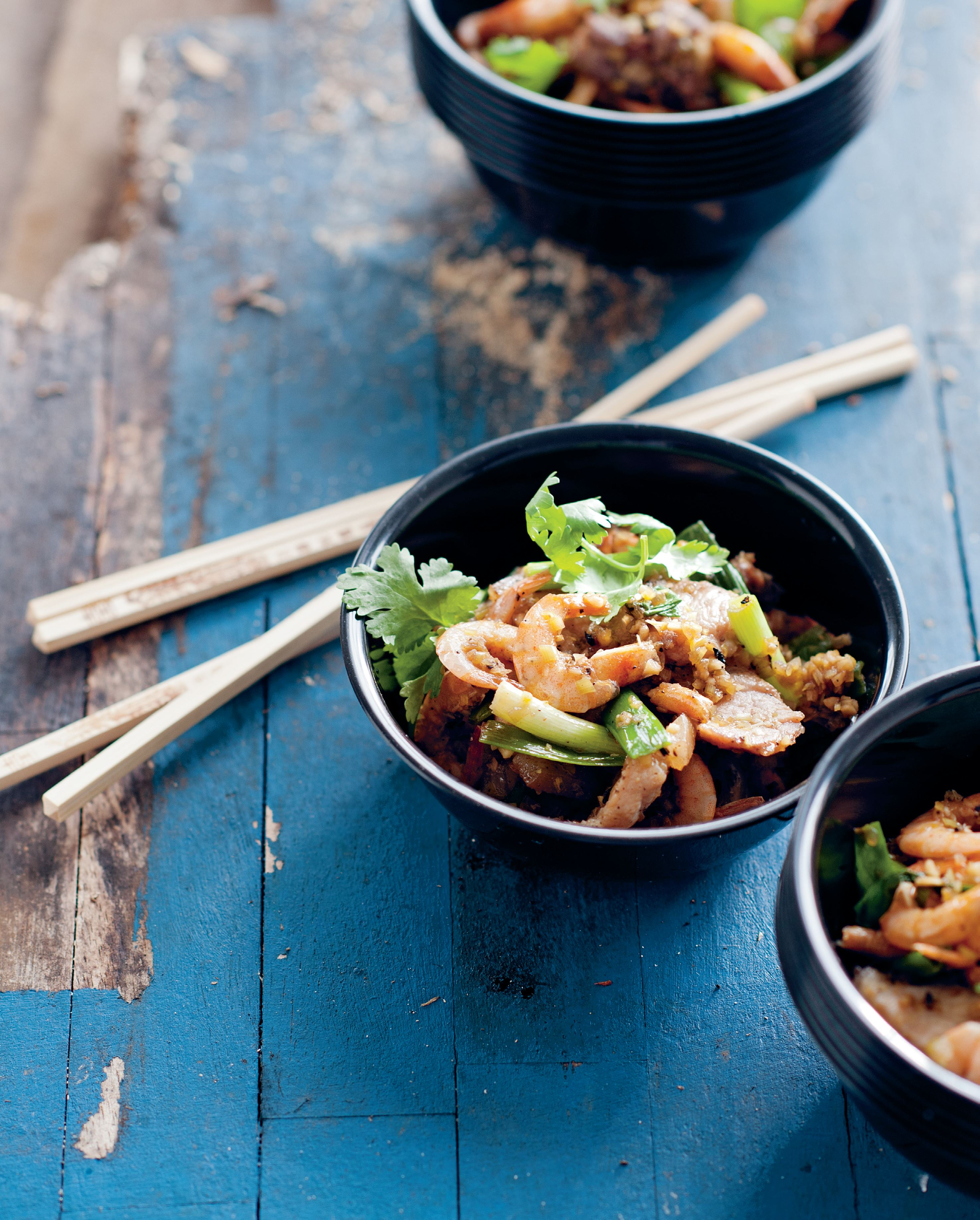 Mekong school prawns stir-fried with pork belly