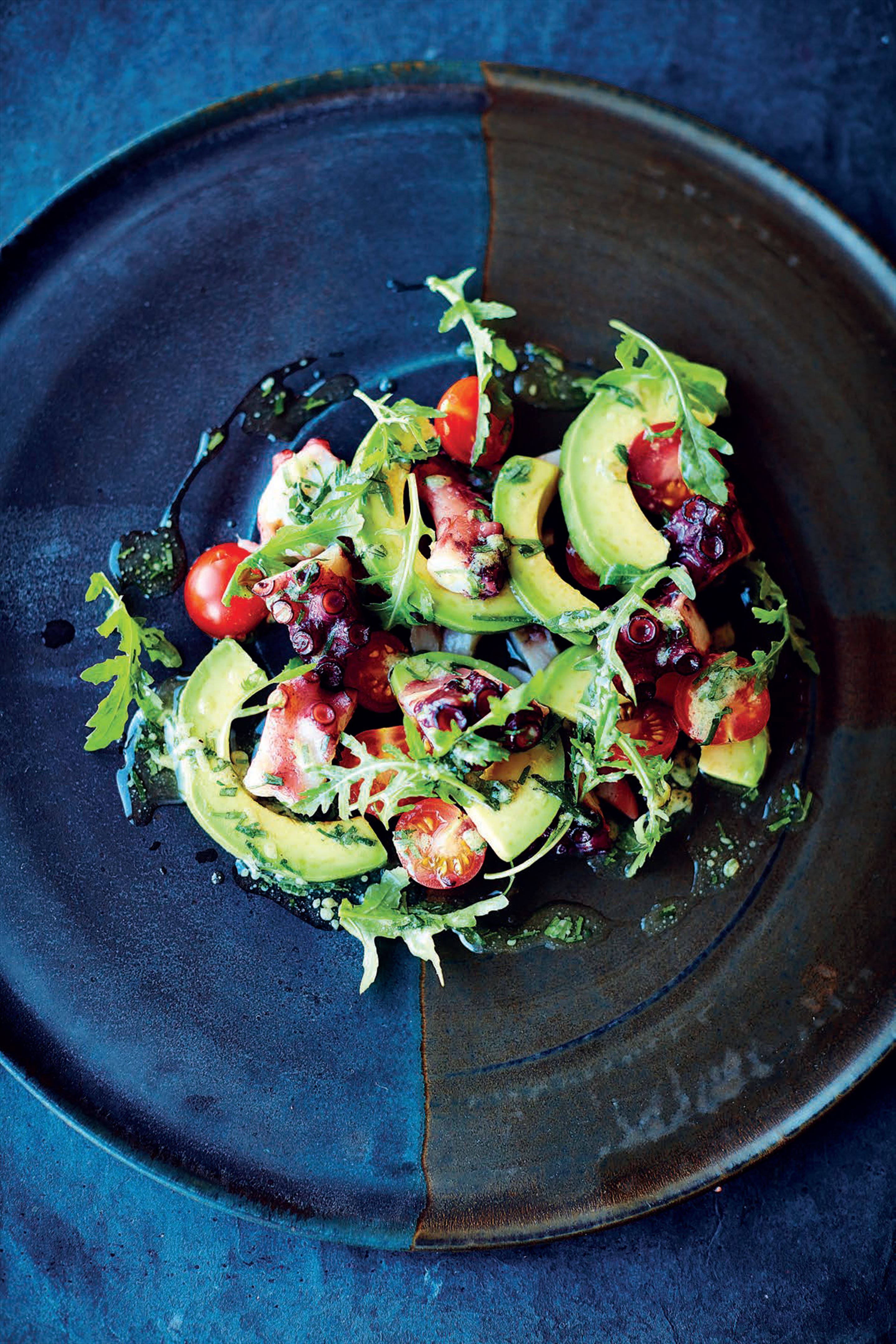 Octopus, avocado and tomato salad, lime and coriander dressing